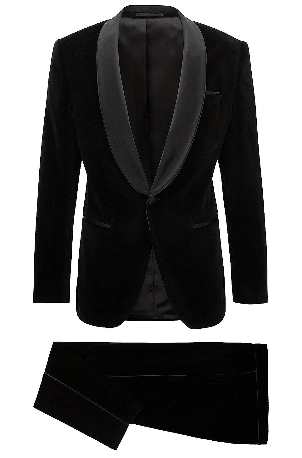 Slim Fit Tuxedo In Velvet With Silk Trims by Boss