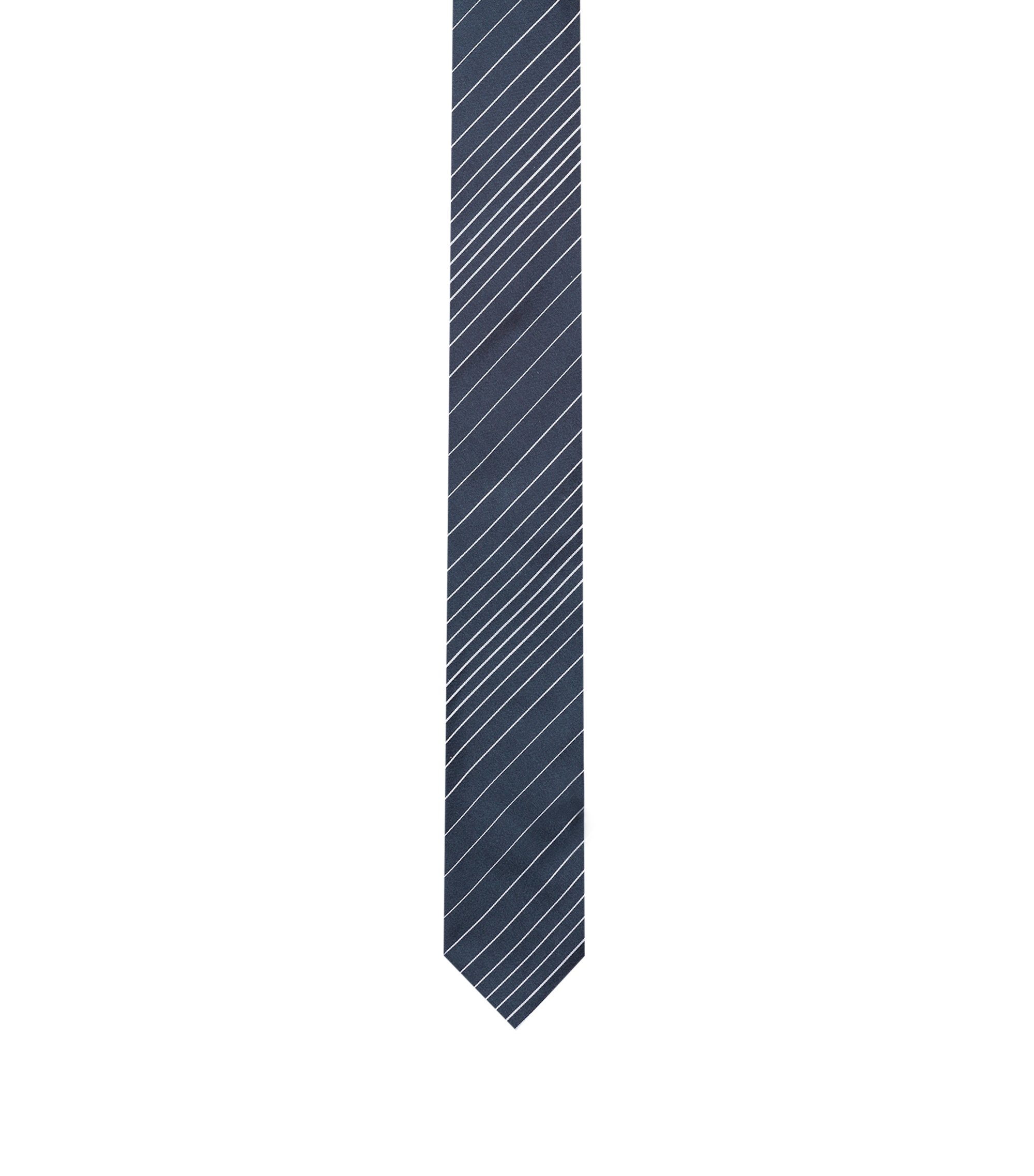 Silk-jacquard tie with diagonal stripes, Patterned