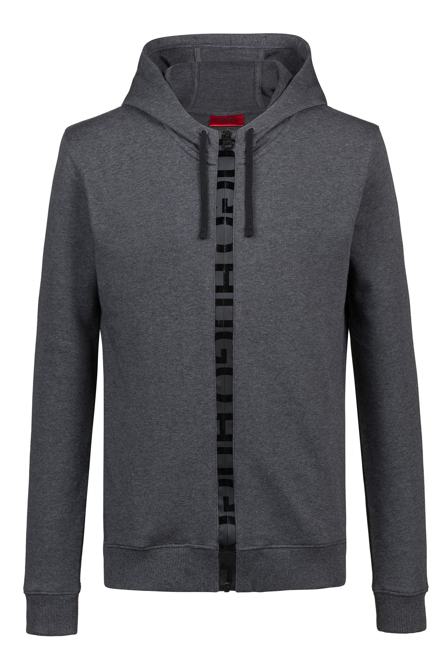 Kapuzen-Sweatjacke aus French Terry mit Logo-Tape am Reißverschluss, Grau
