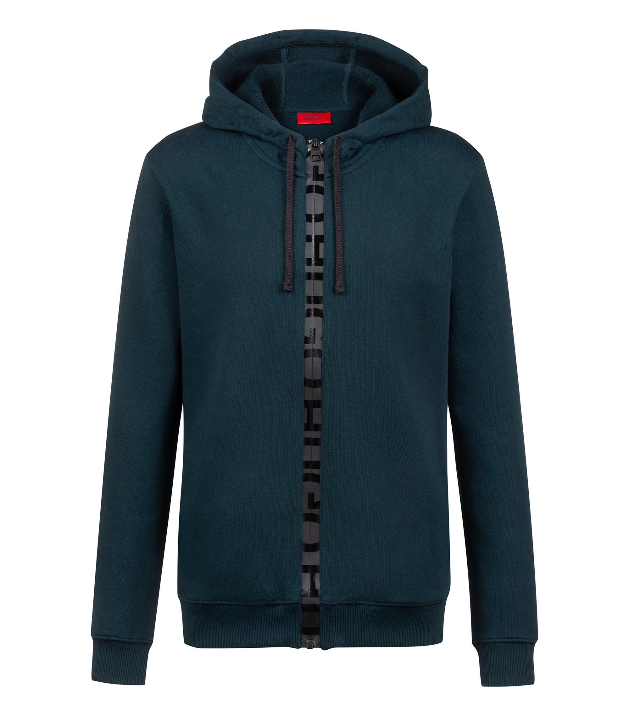 French-terry hooded sweatshirt with logo-tape zip, Dark Green
