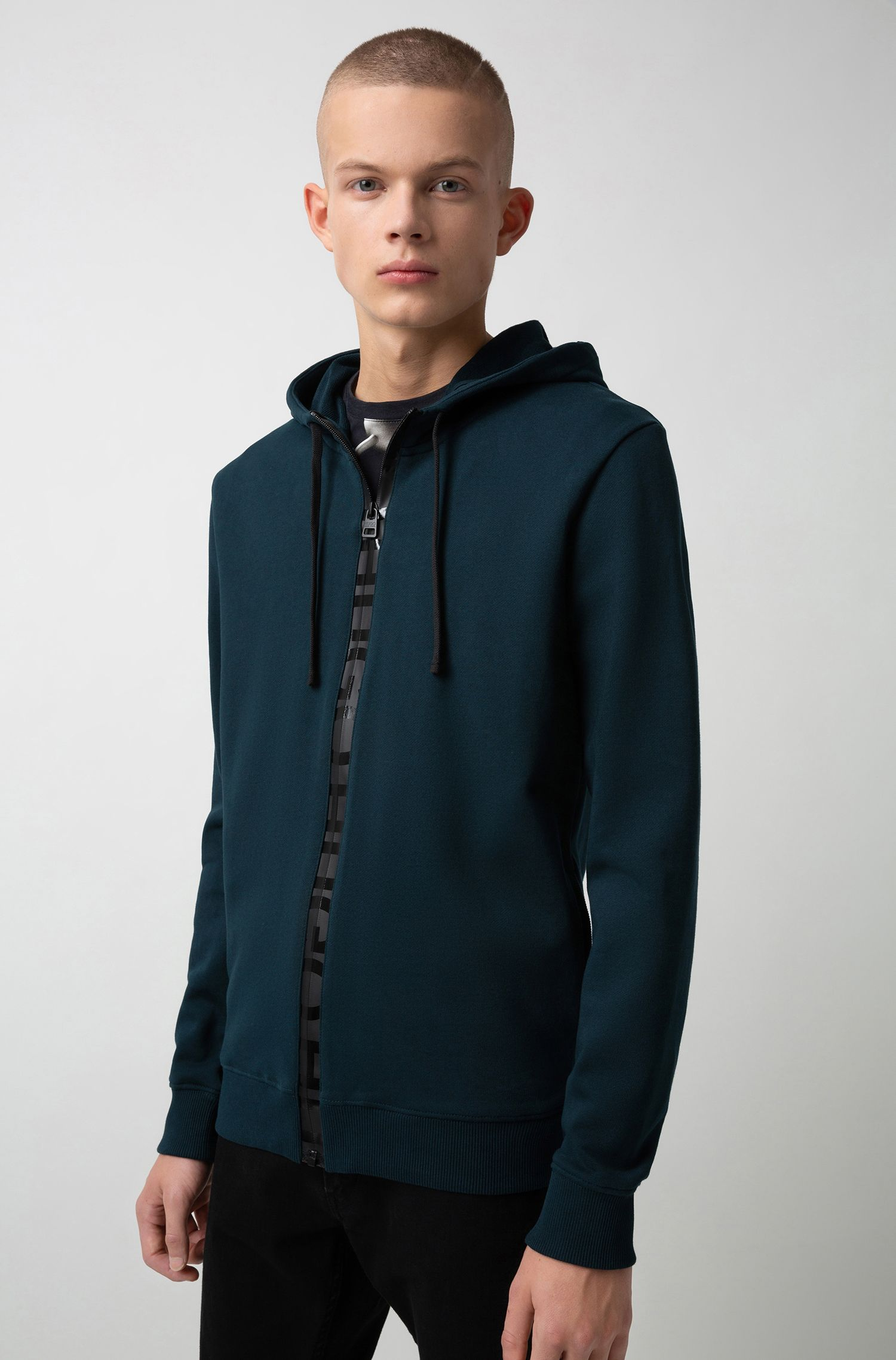 French-terry hooded sweatshirt with logo-tape zip, Dark Green