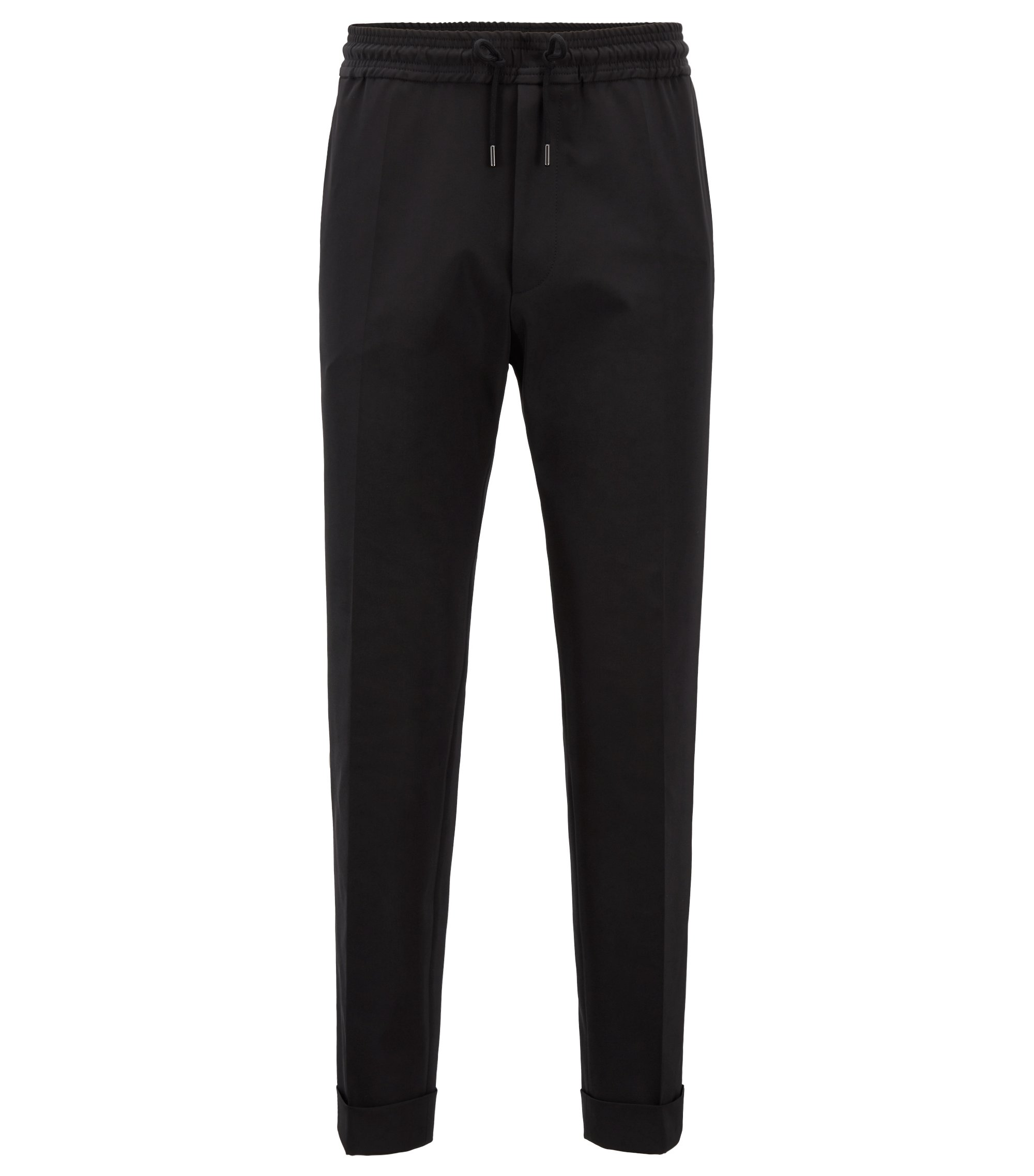 Relaxed-fit cropped trousers with drawstring waist, Black