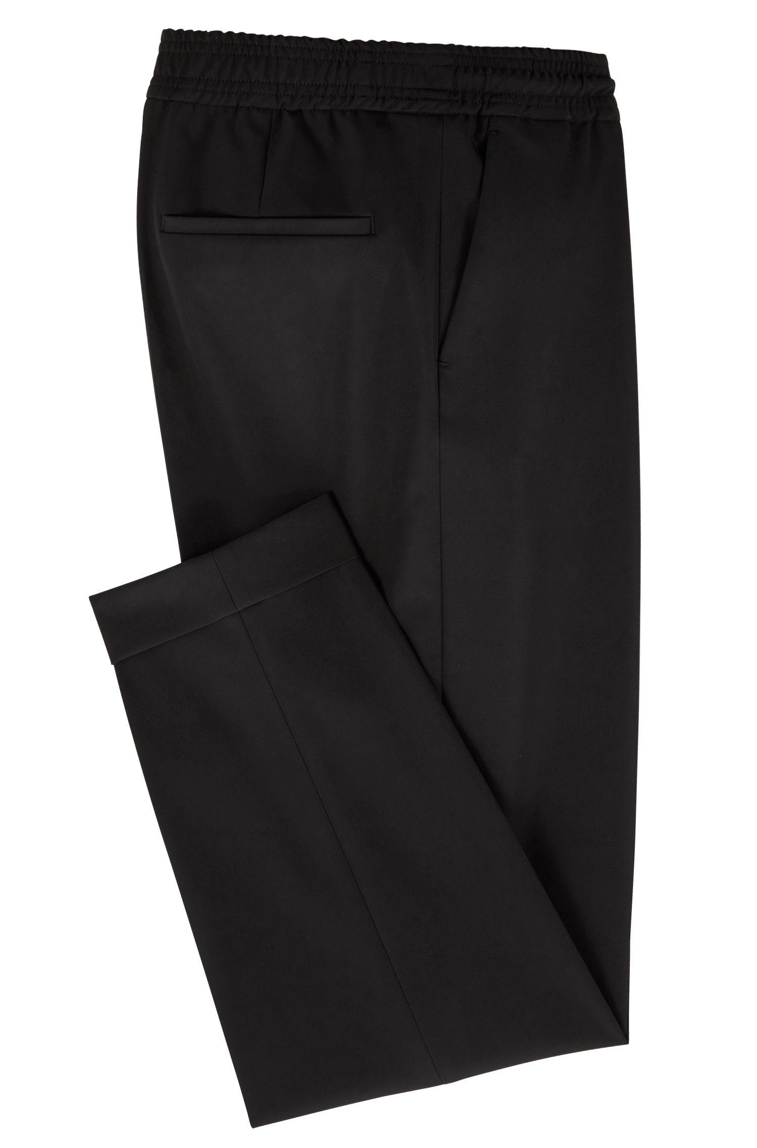 Pantalon Relaxed Fit raccourci à taille avec cordon de serrage, Noir