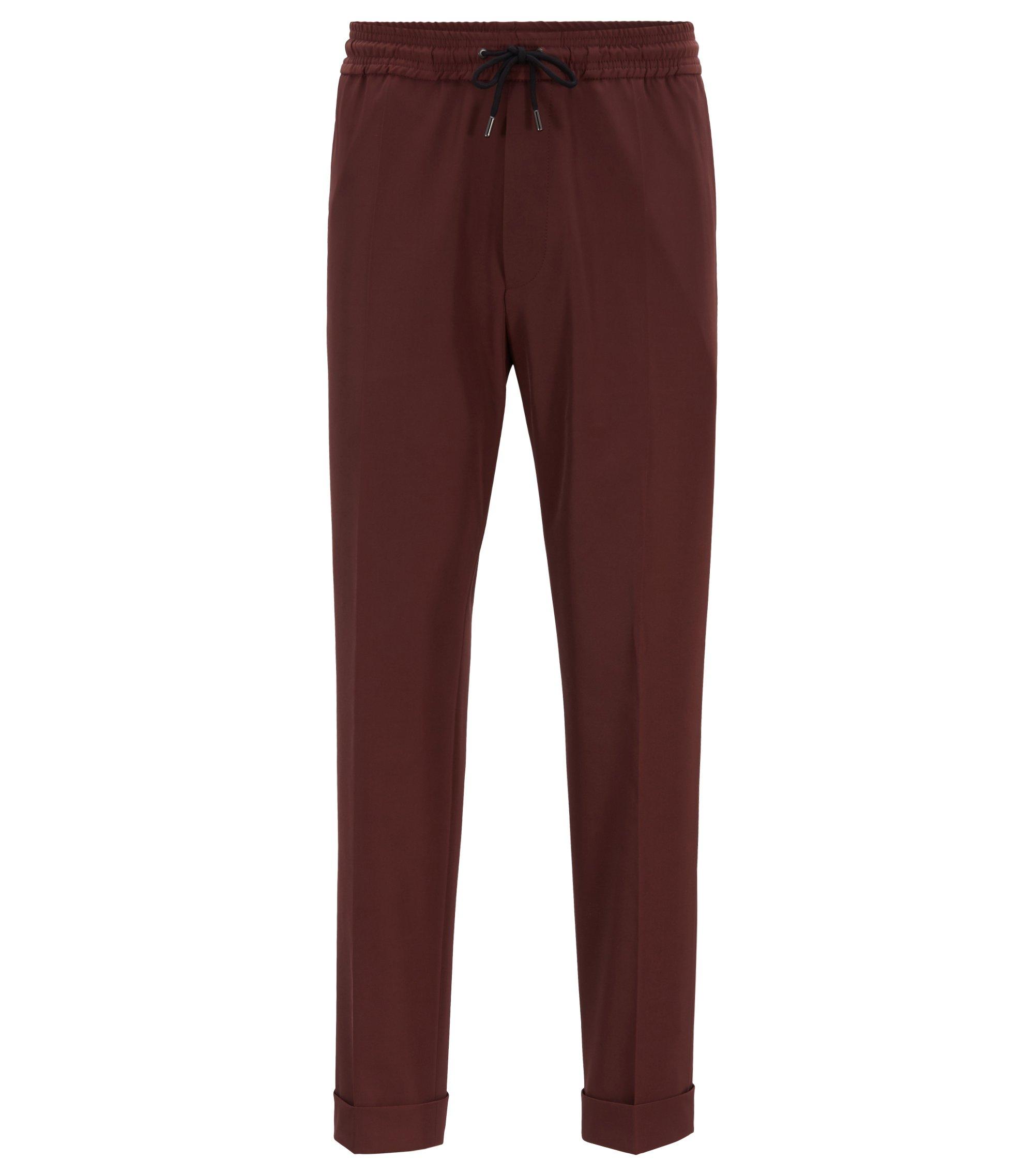 Pantalones relaxed fit de estilo tobillero con cintura con cordón, Rojo oscuro