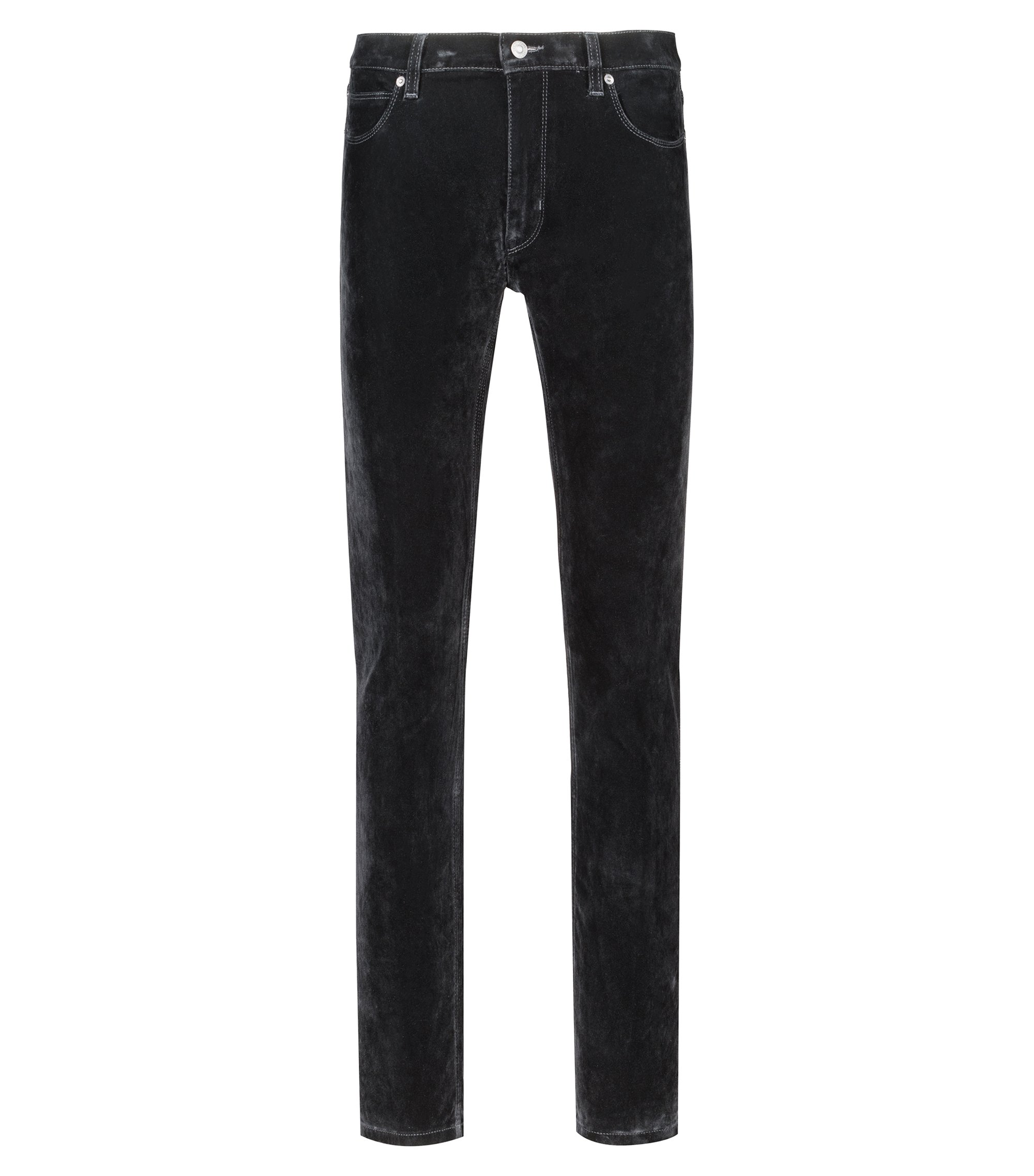 Skinny-Fit Jeans aus Super-Stretch-Denim mit Samt-Finish, Schwarz