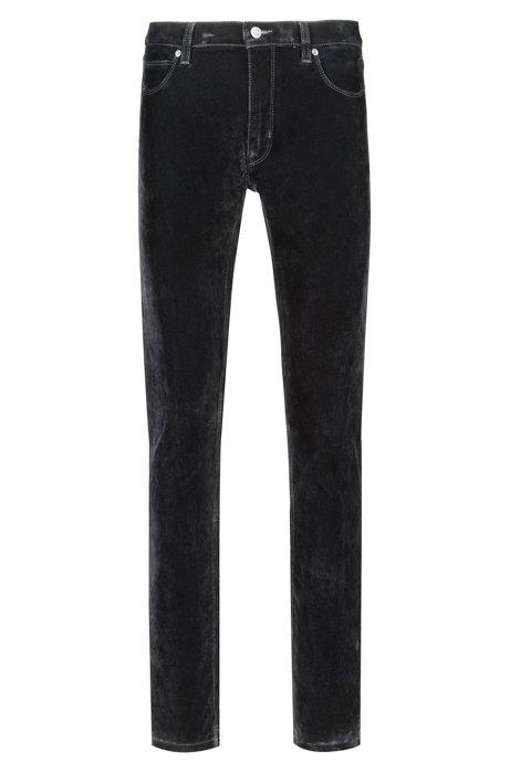 43385bd75f8f Skinny-Fit Jeans aus Super-Stretch-Denim mit Samt-Finish, Schwarz