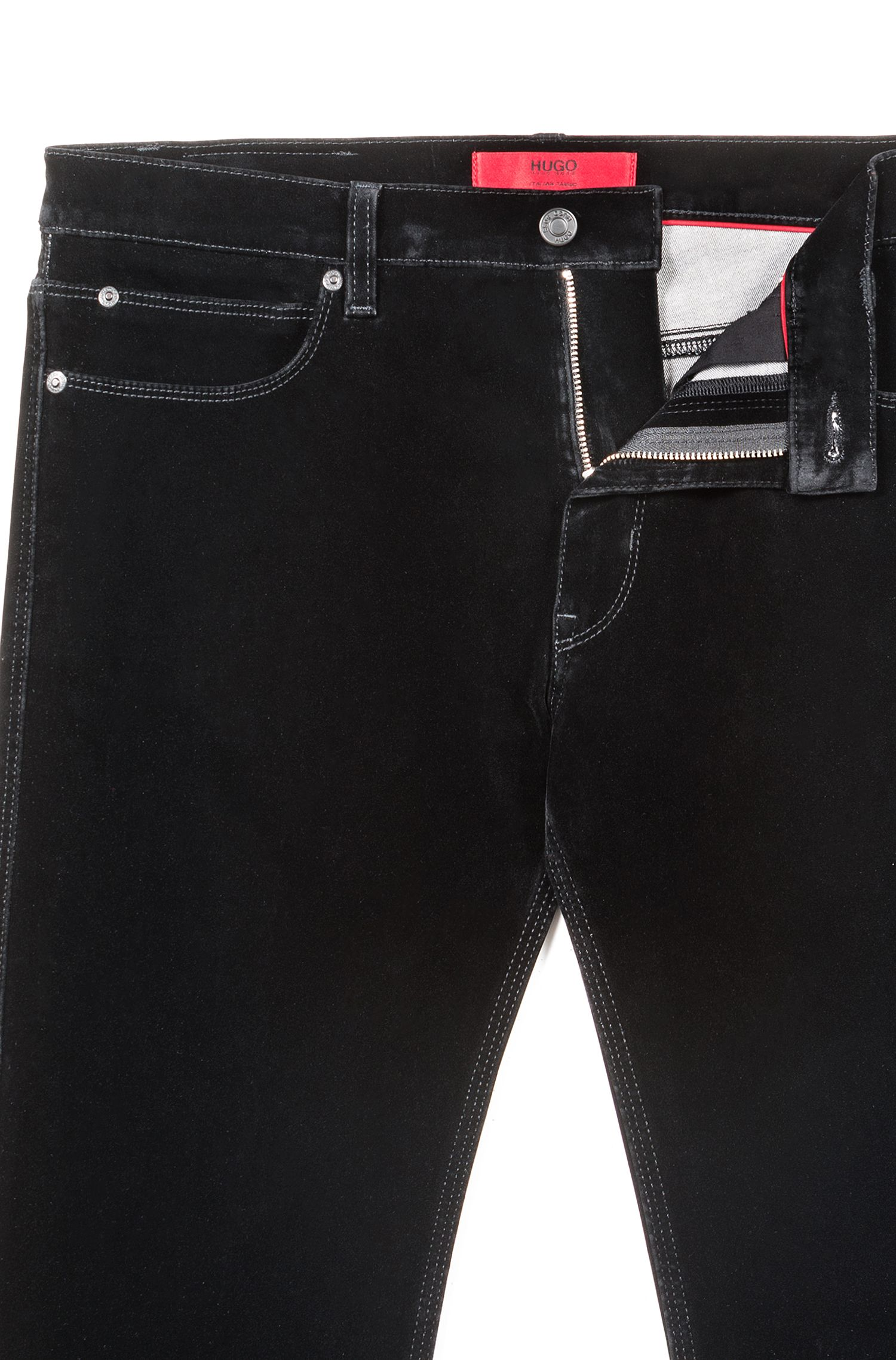 Jean Skinny Fit en denim ultra stretch finition velours, Noir