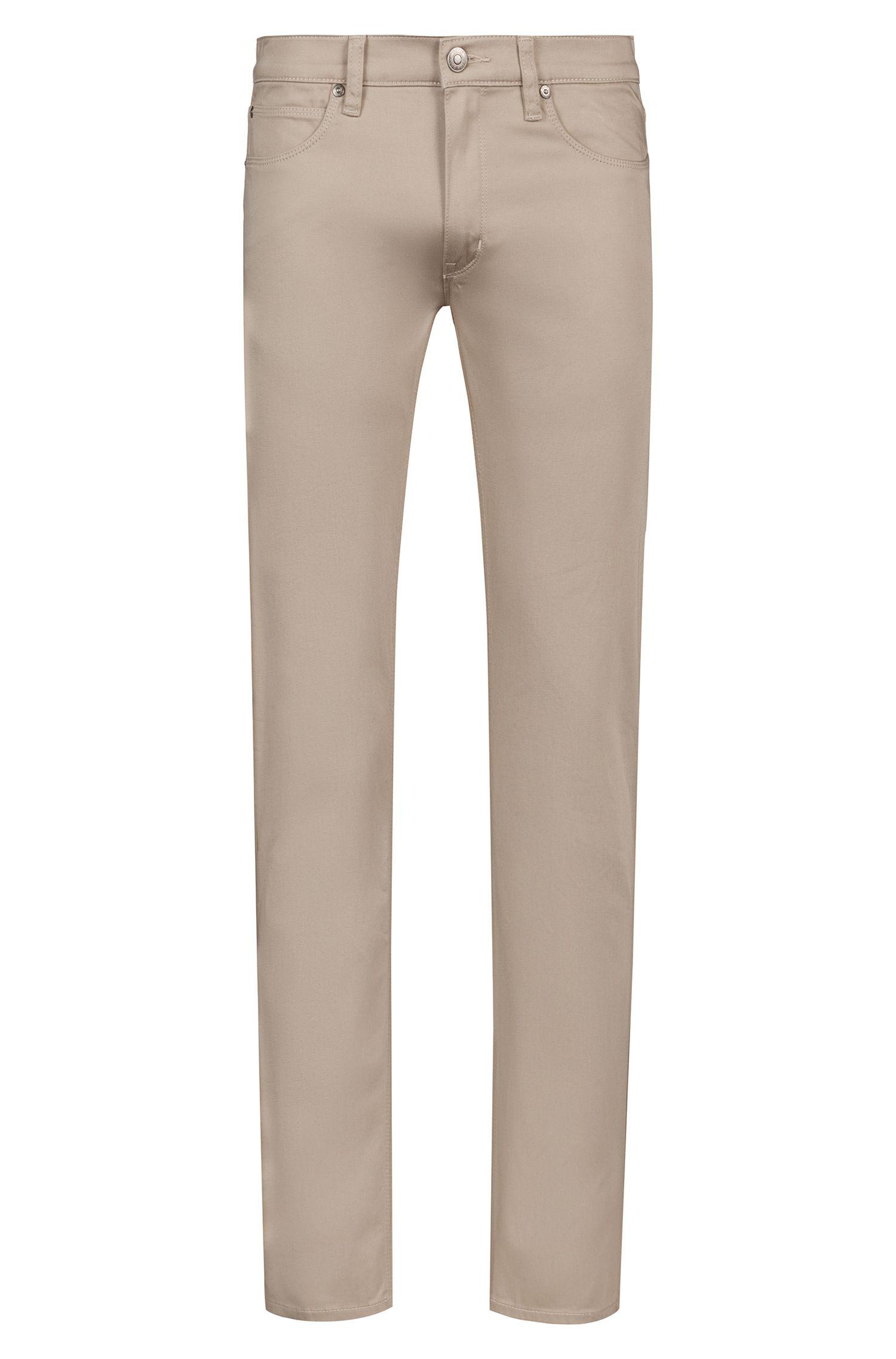 Slim-fit jeans van satijnzachte stretchkatoen, Beige