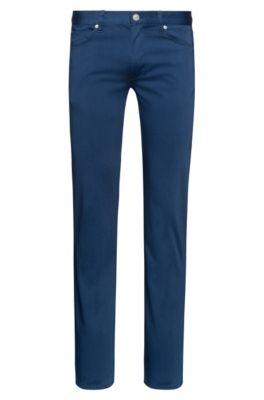 Slim-fit jeans van satijnzachte stretchkatoen, Blauw