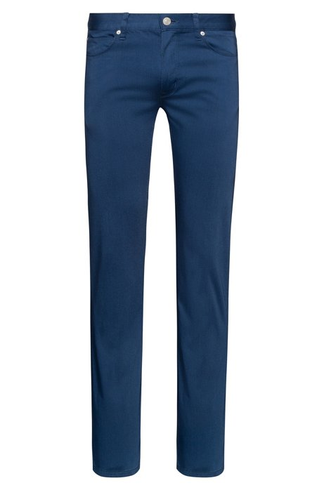 Slim-fit jeans in satin-touch stretch cotton, Blue