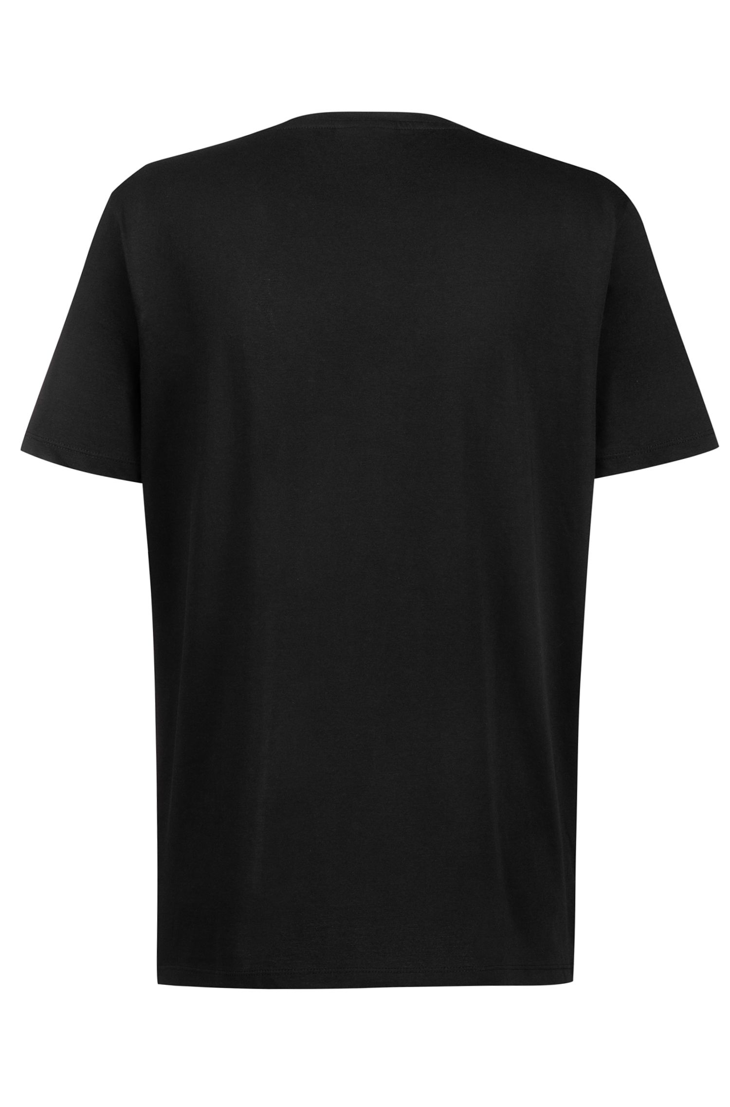 Regular-fit logo-T-shirt van single jersey, Zwart