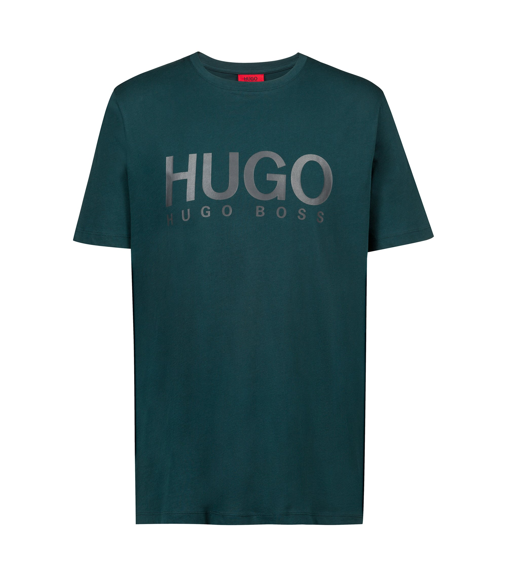 T-shirt Regular Fit à logo en jersey simple, Vert sombre