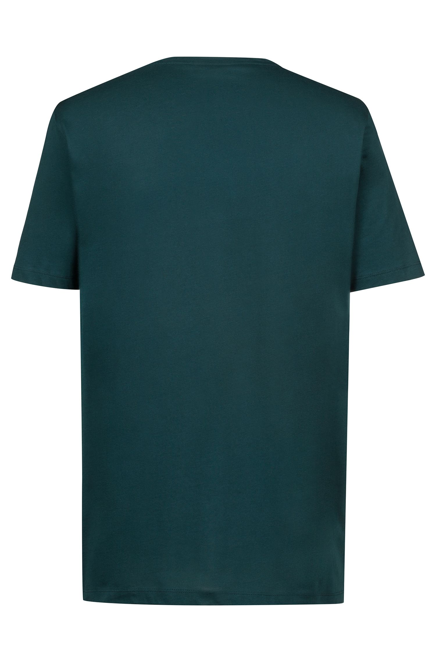 Regular-fit logo T-shirt in single jersey, Dark Green