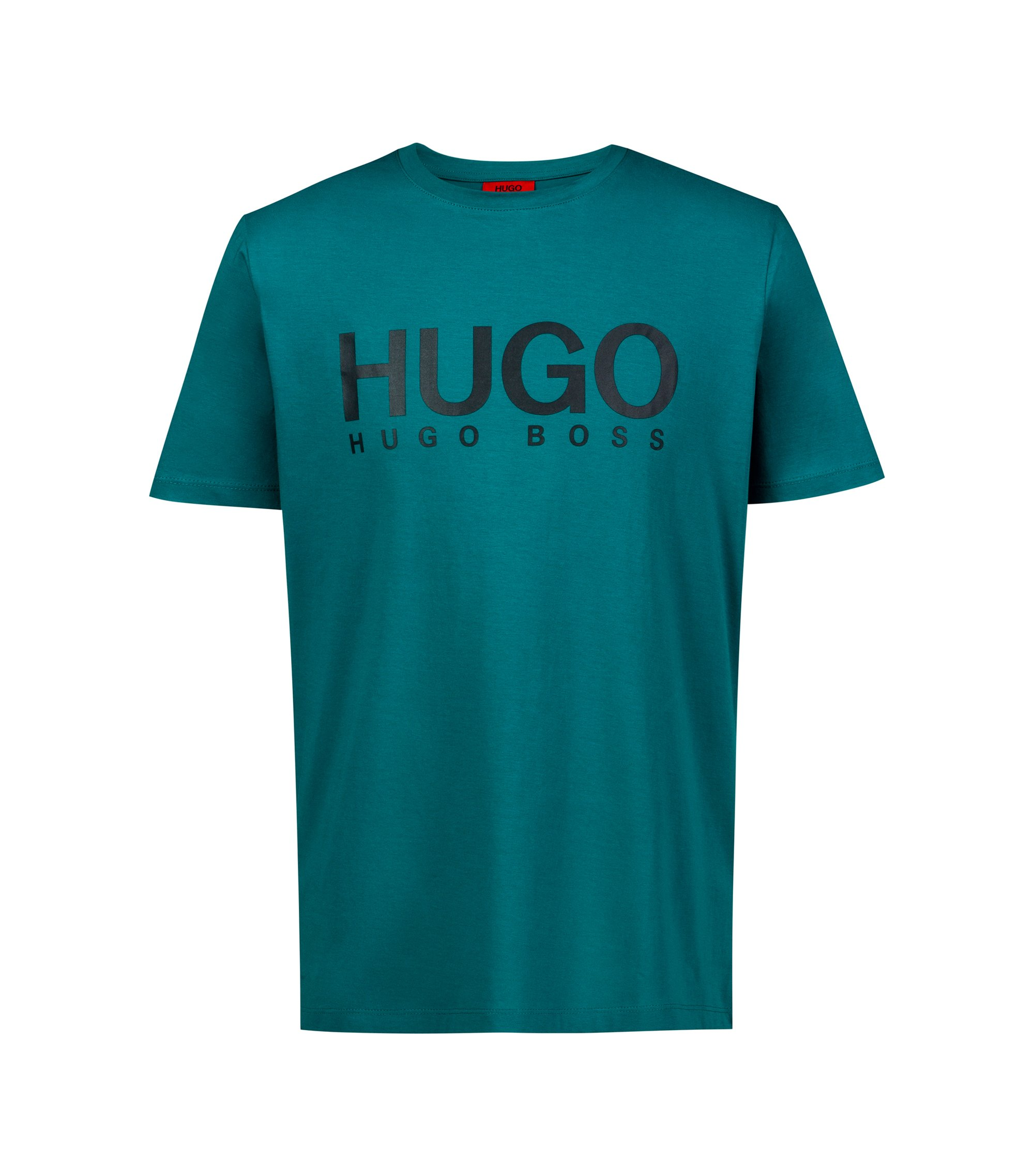 T-shirt Regular Fit à logo en jersey simple, Vert