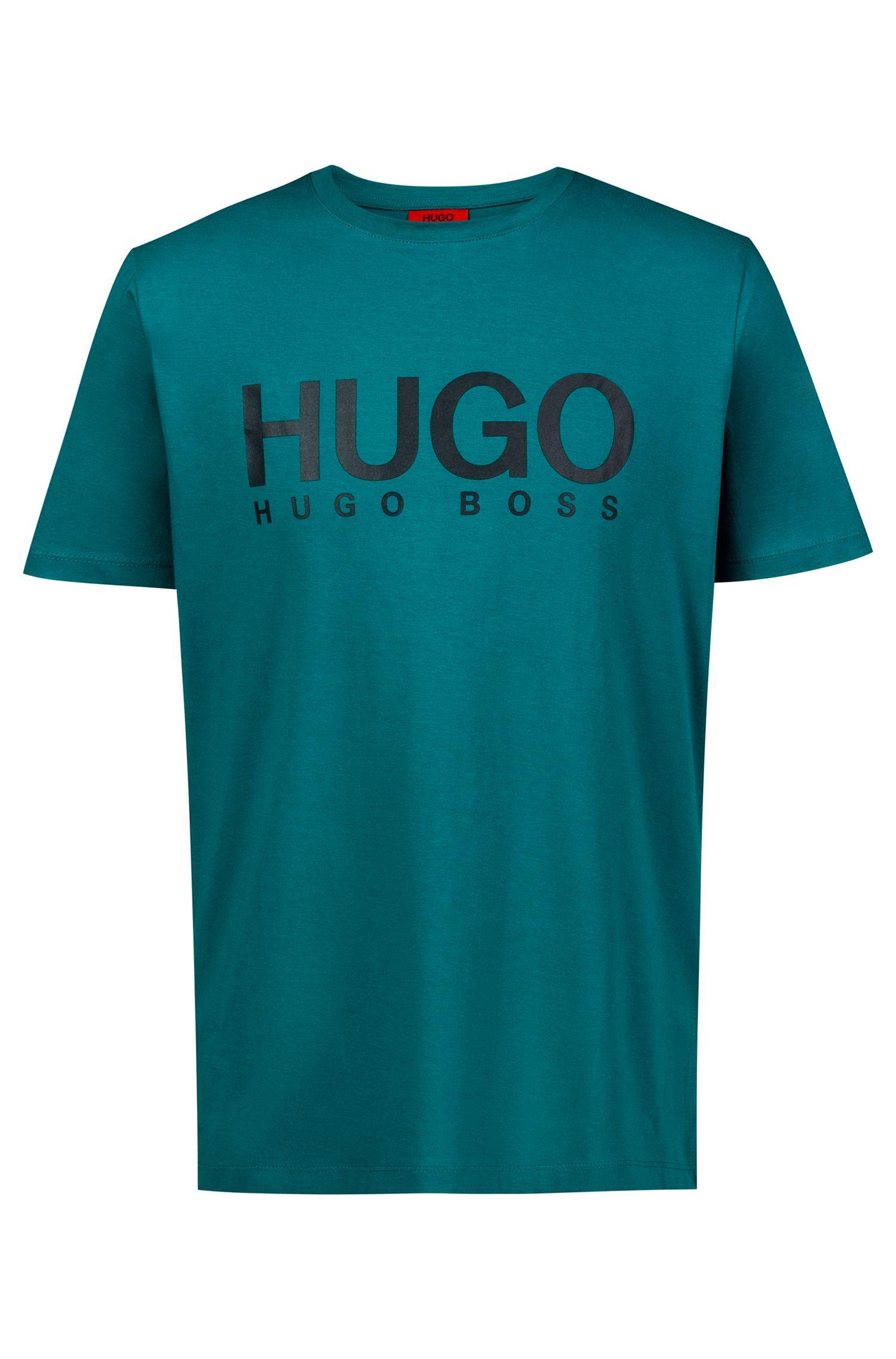 Regular-fit logo T-shirt in single jersey, Green