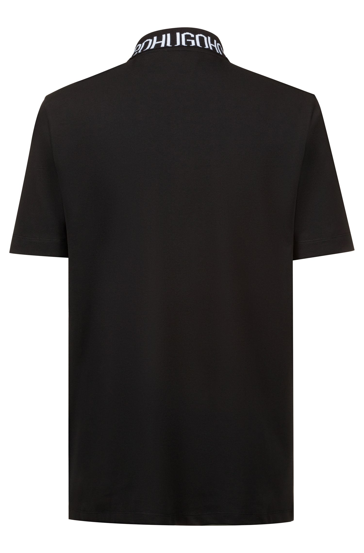 Piqué polo shirt with logo collar, Black