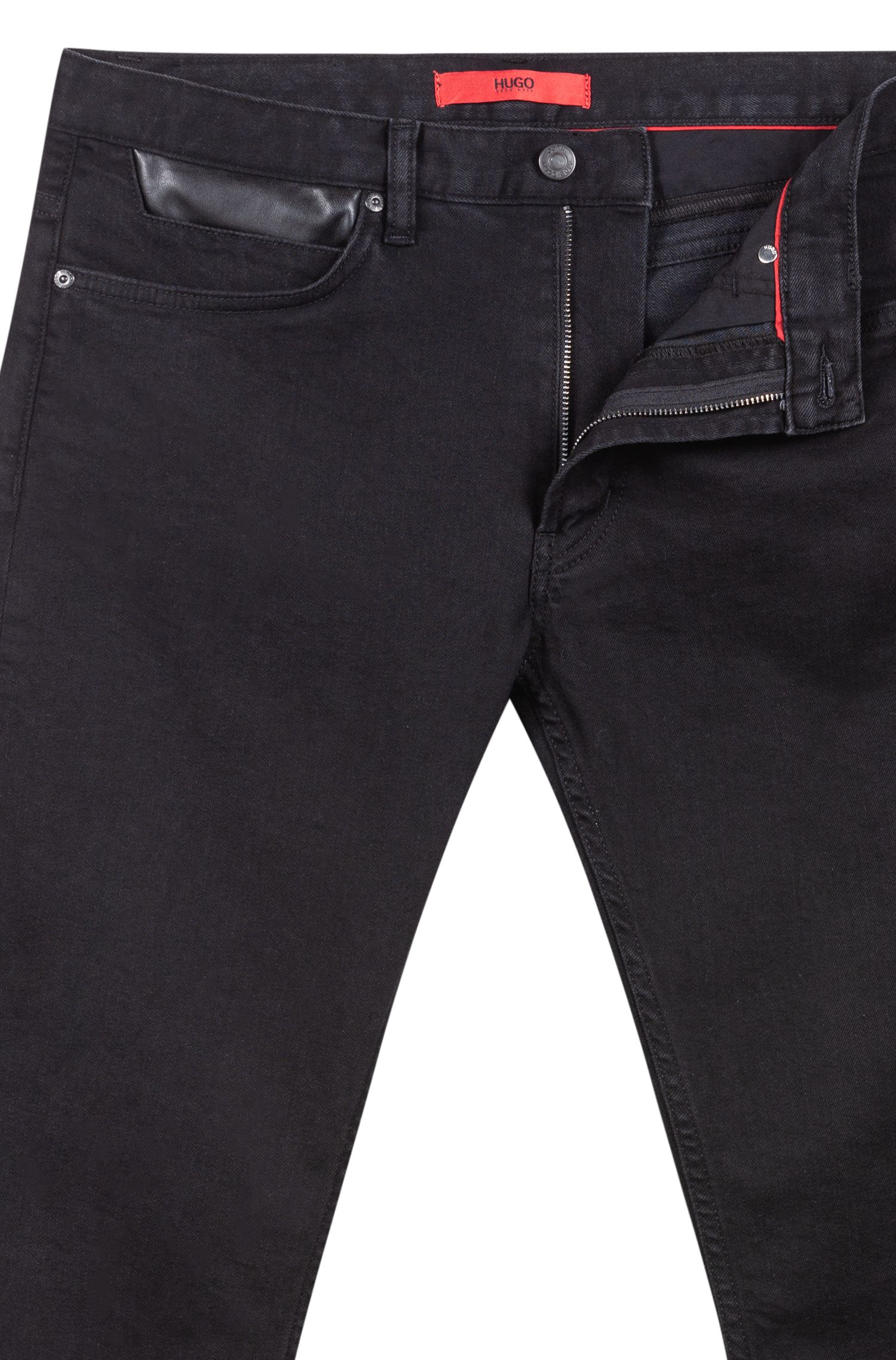 Skinny-fit jeans in stretch denim with faux-leather patchwork, Black
