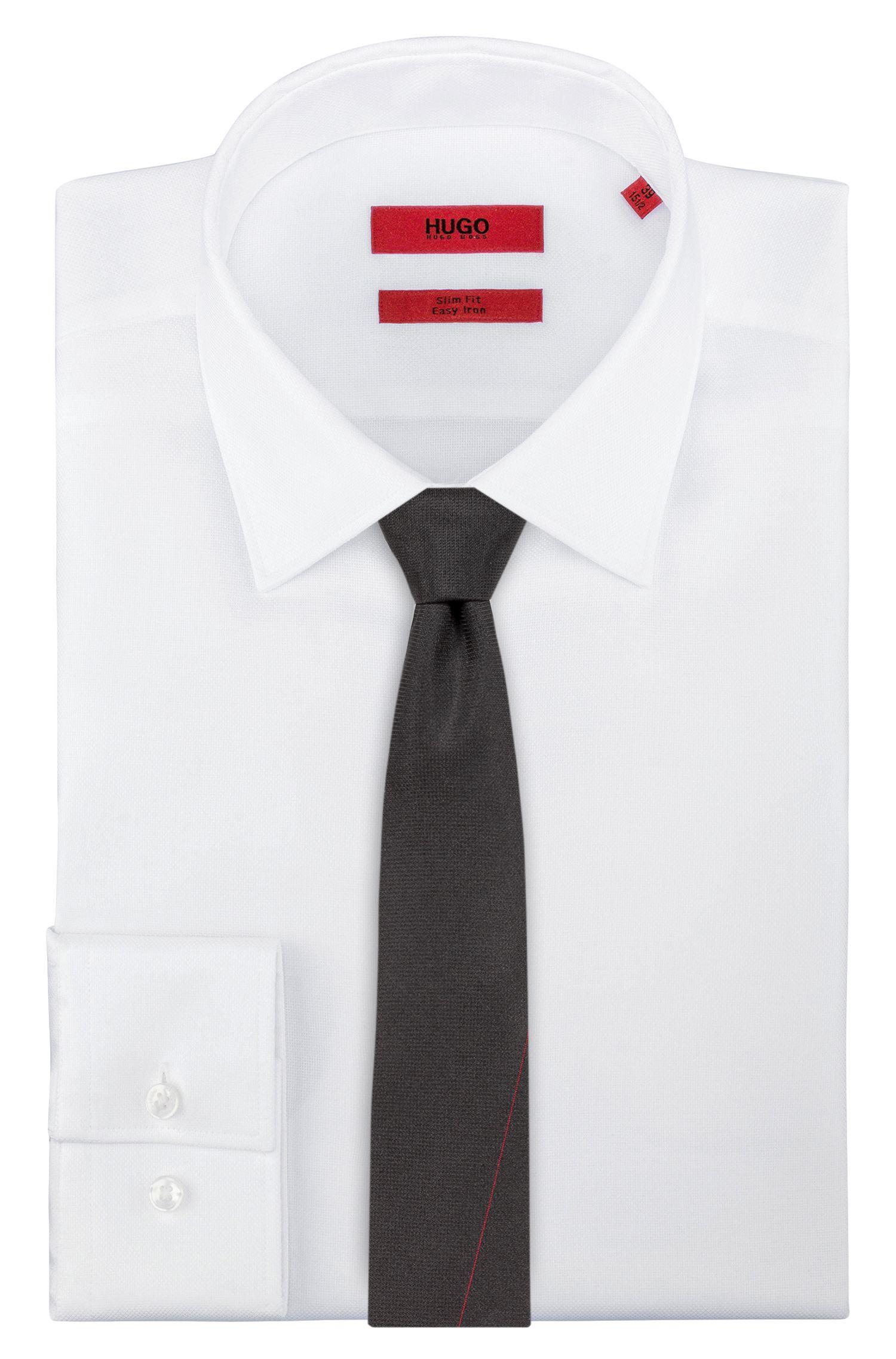 Silk tie with red stitching, Black