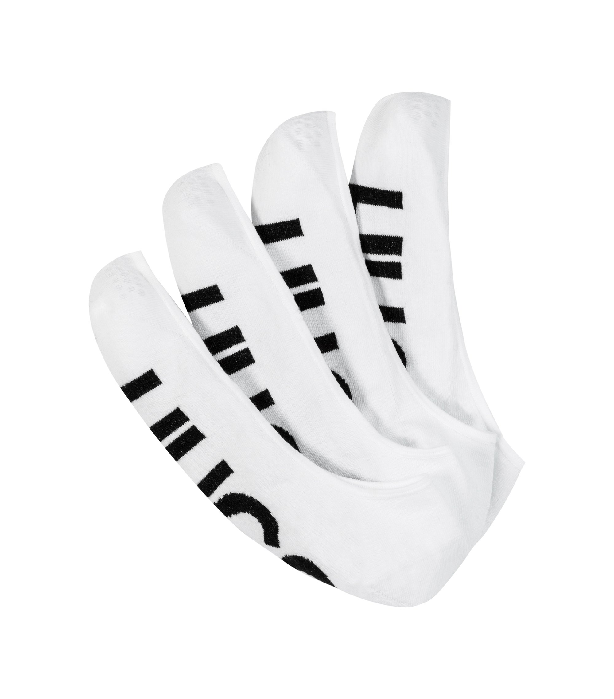 Two-pack of invisible socks with logo detail, Weiß