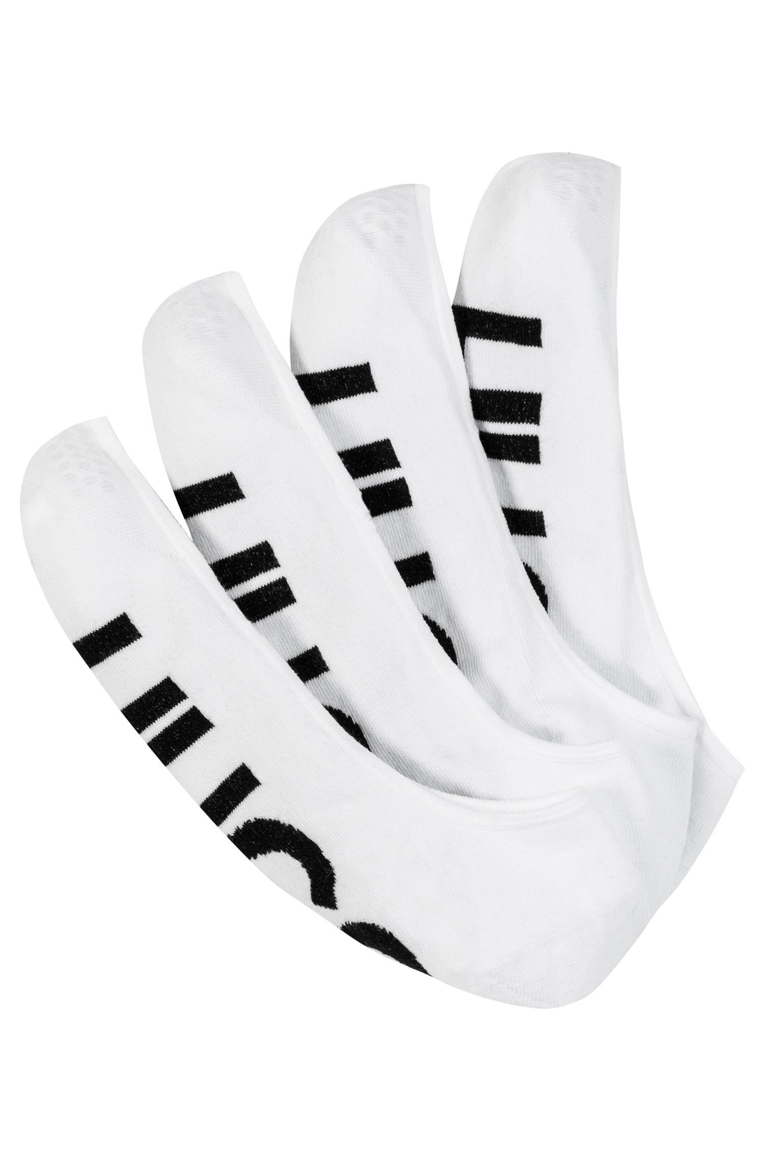 Lot de deux paires de chaussettes invisibles avec logo, Blanc