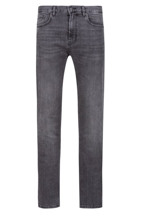 Regular-fit jeans in mid-grey stretch denim, Grey