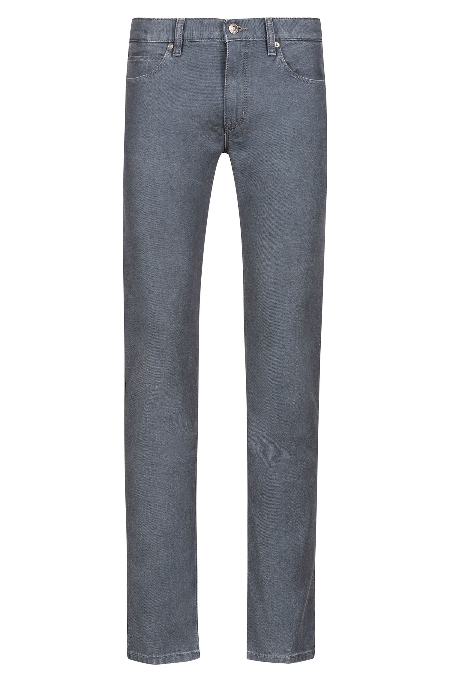 Slim-fit jeans in dark-grey stretch denim, Grey