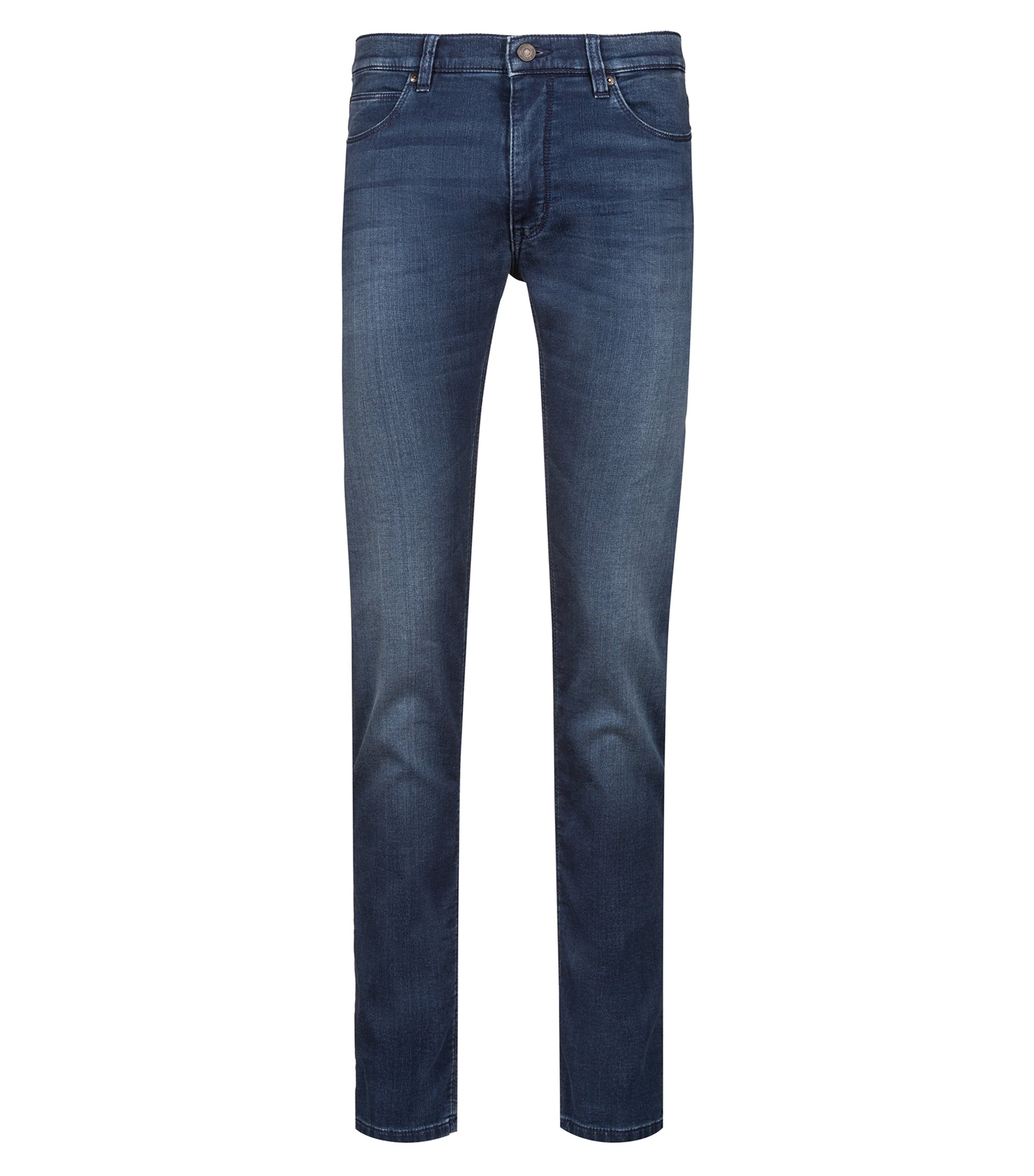 Skinny-fit jeans in stretch denim with logo patch, Blue