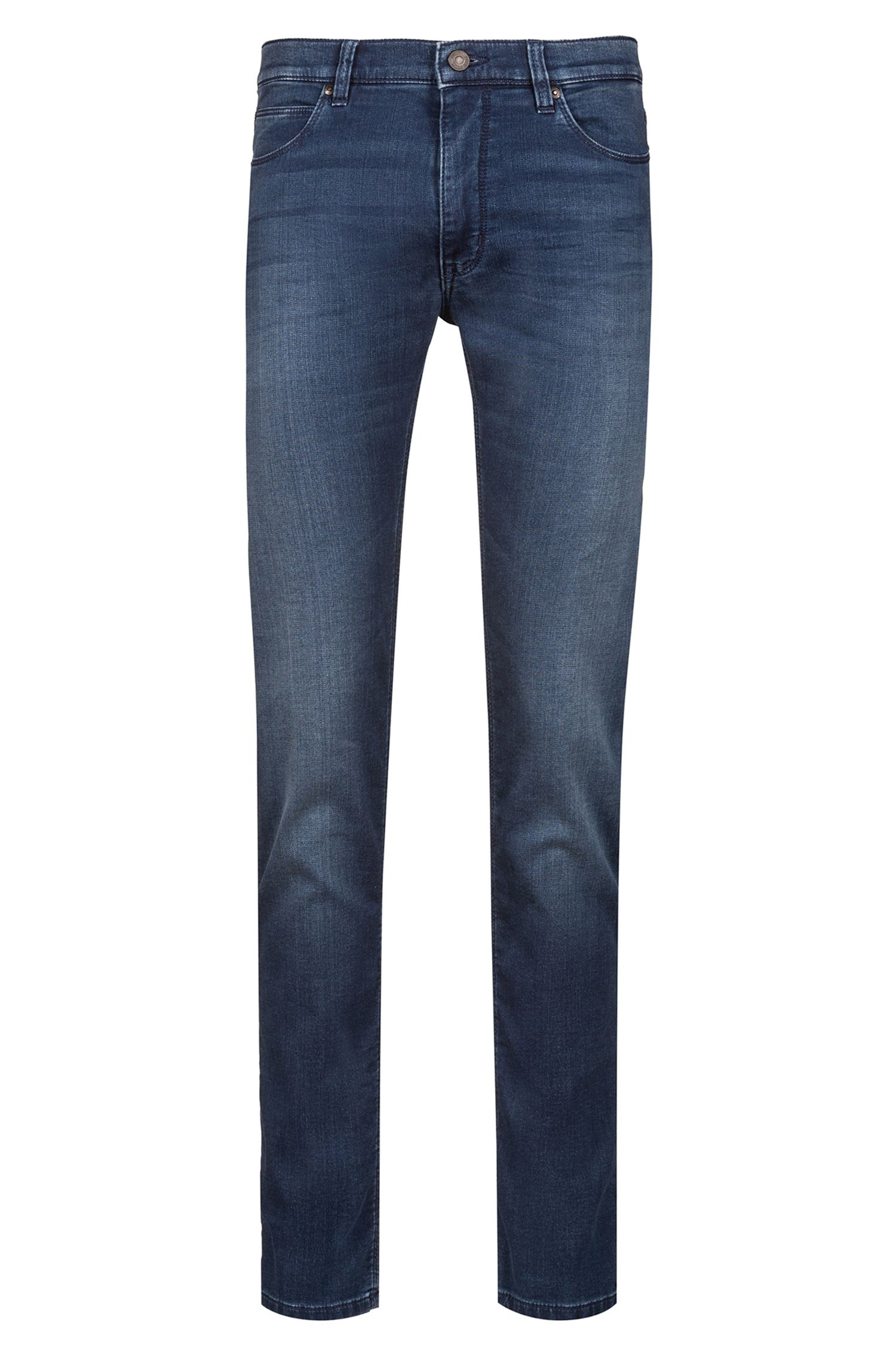 Skinny-Fit Jeans aus Stretch-Denim mit Logo-Patch, Blau