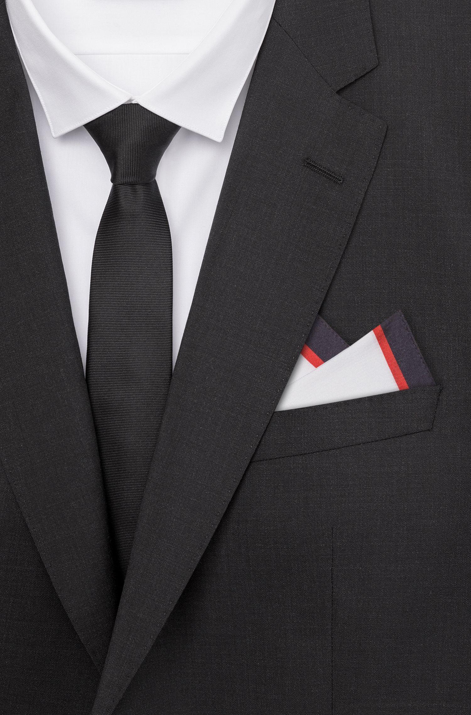 Einstecktuch aus Seide mit gestreiftem Rand und Logo, Gemustert