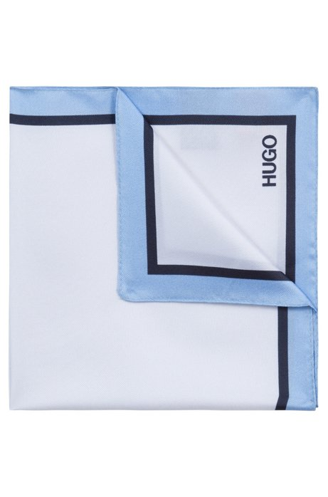 Pocket square in silk with striped border and logo, Blue