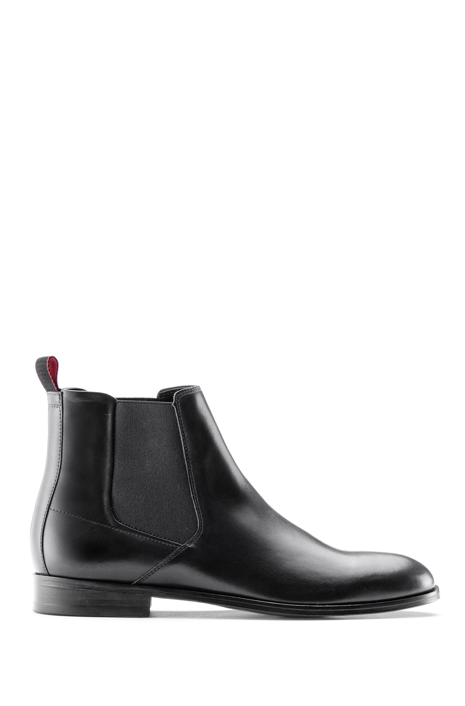 Calf-leather Chelsea boots with leather sole, Black