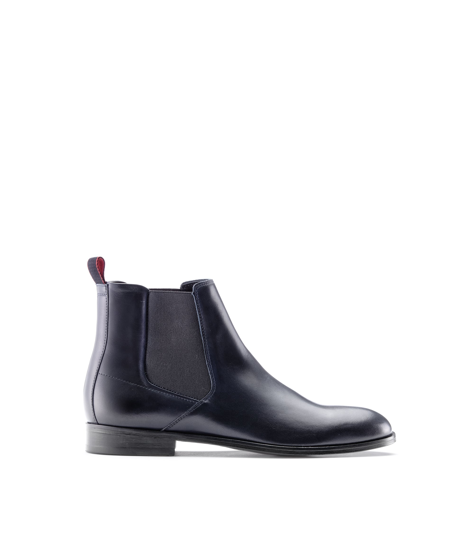 Calf-leather Chelsea boots with leather sole, Dark Blue