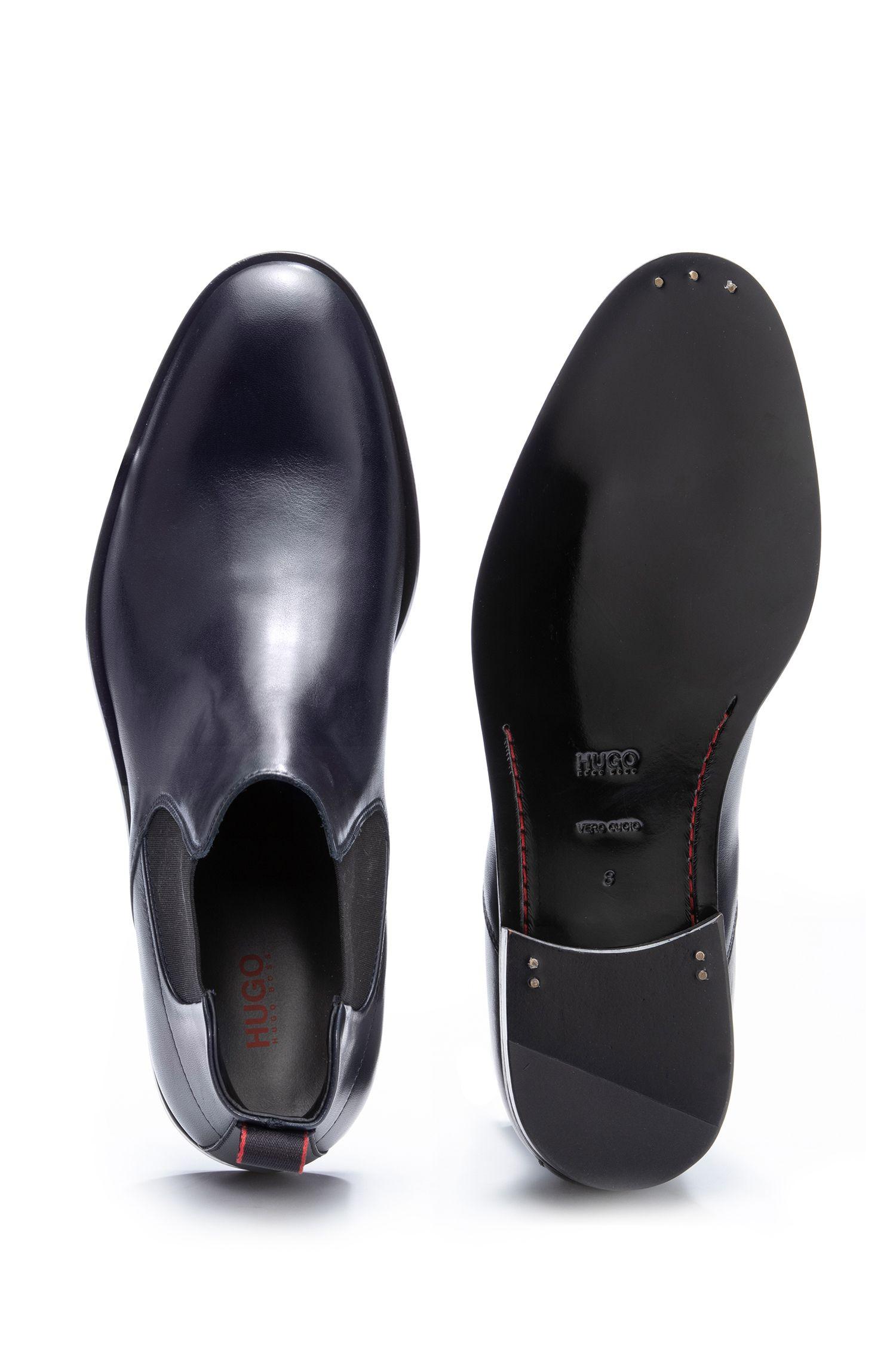 Chelsea Boots aus Leder mit Ledersohle, Dunkelblau
