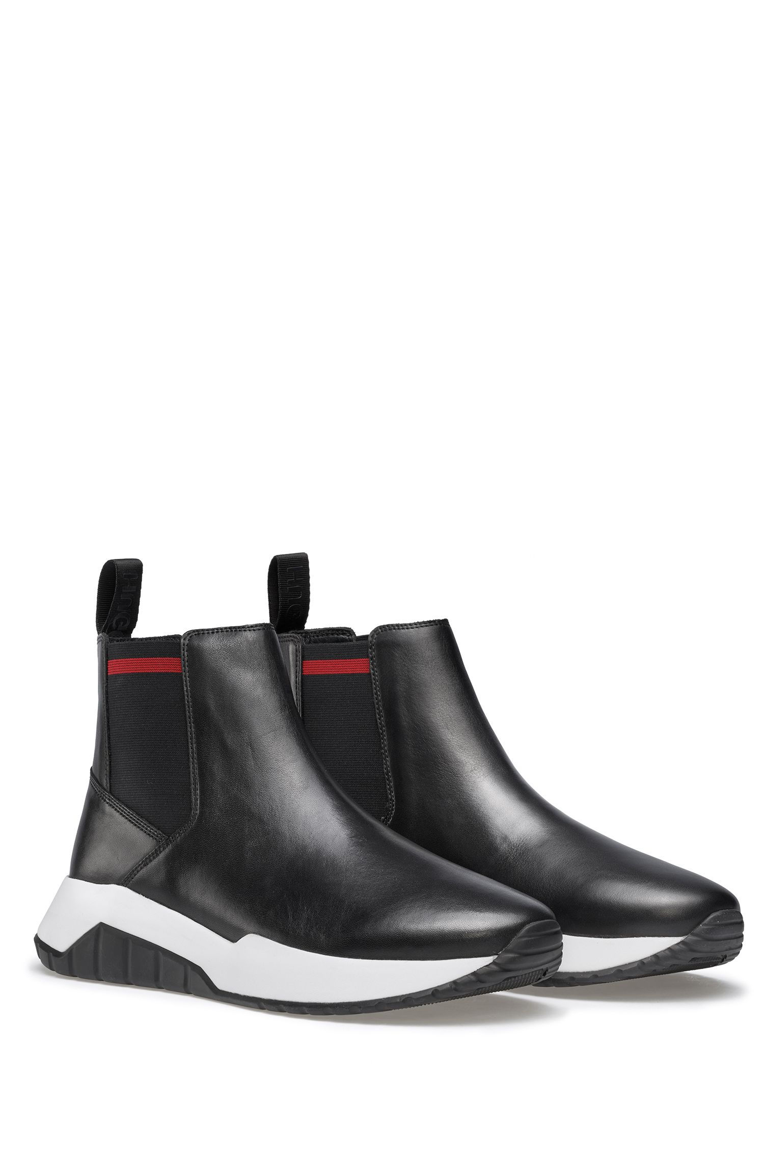 Chelsea boots in nappa leather with contrast outsole, Black