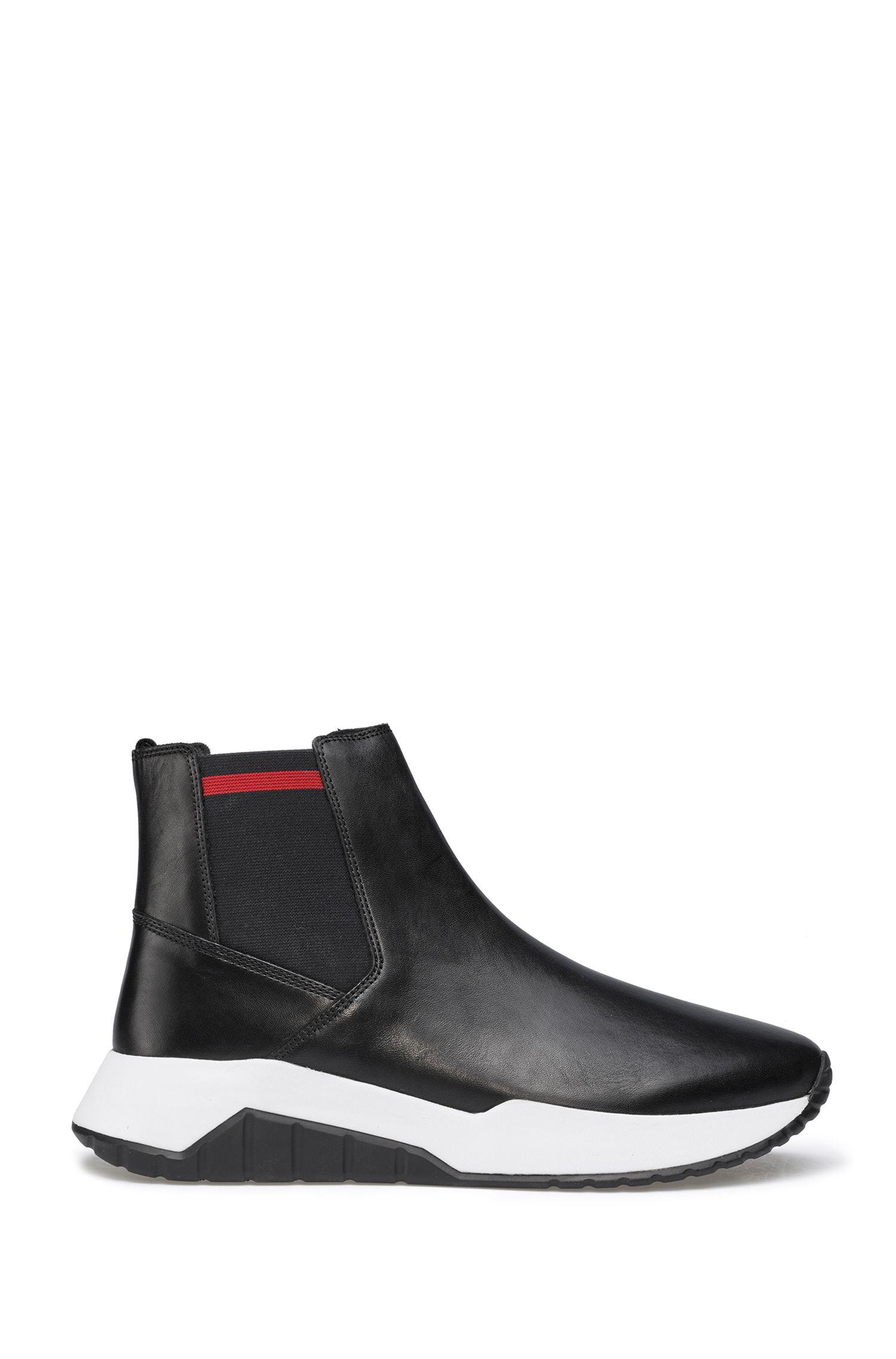 Chelsea Boots aus Nappaleder mit kontrastfarbener Sohle, Schwarz