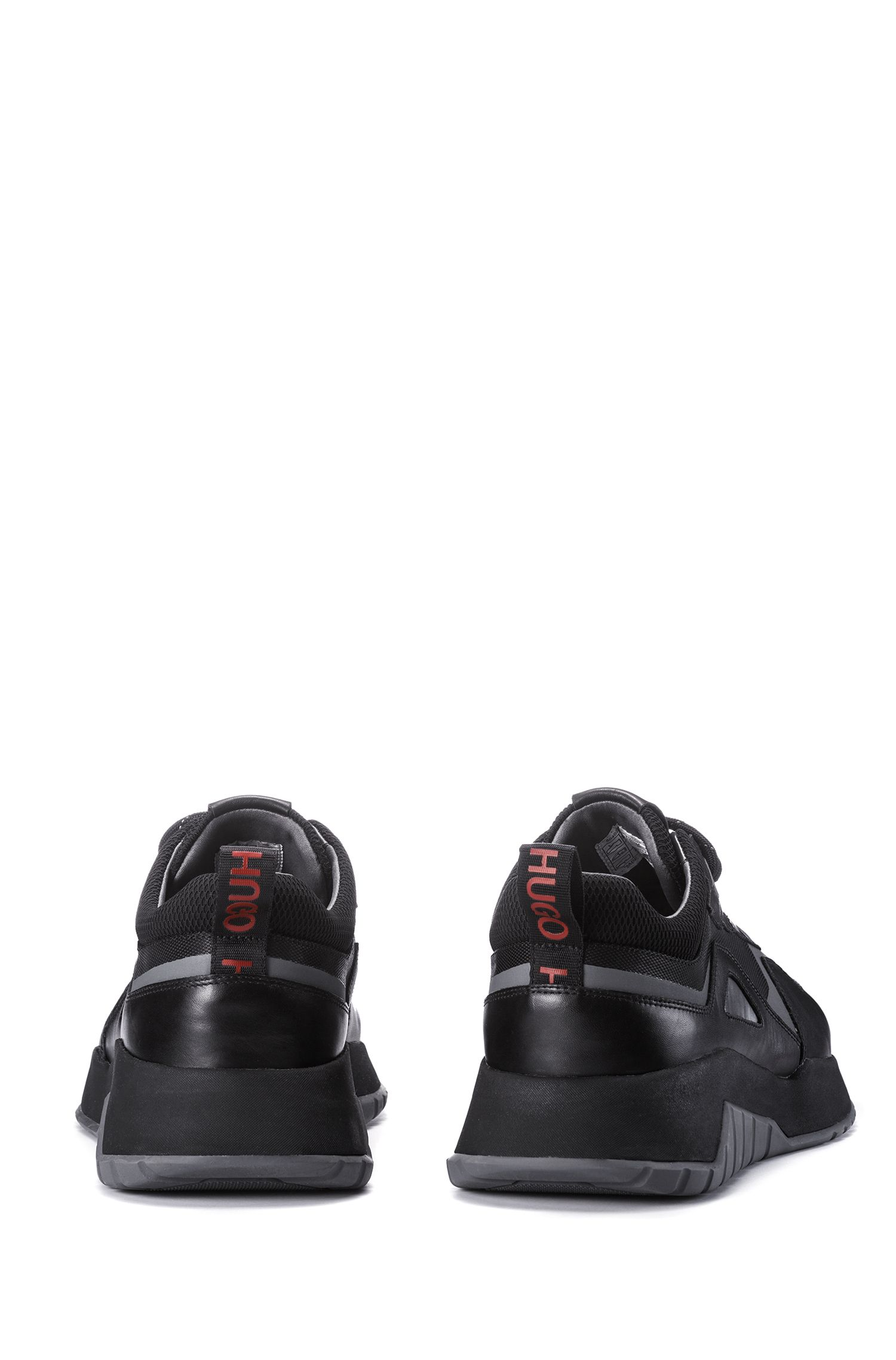 Lace-up trainers with hybrid uppers and chunky soles, Black