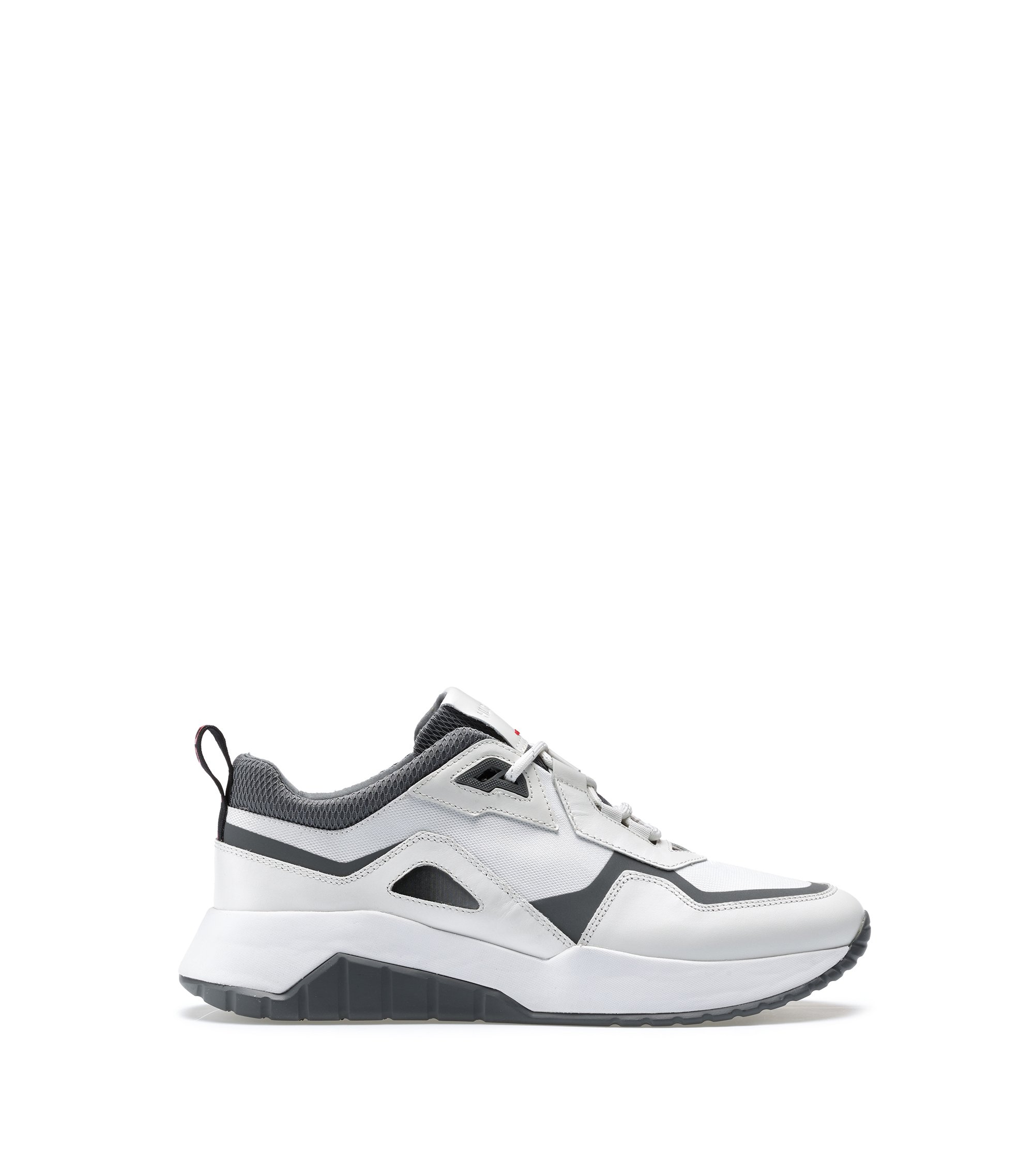 Lace-up trainers with hybrid uppers and chunky soles, White