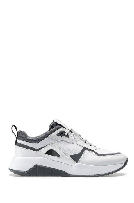 Hybrid-Sneakers mit dicken Sohlen, Weiß