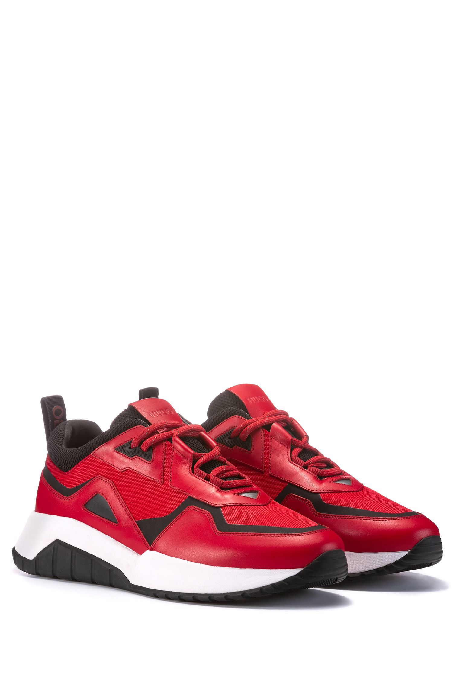 Lace-up trainers with hybrid uppers and chunky soles, Red