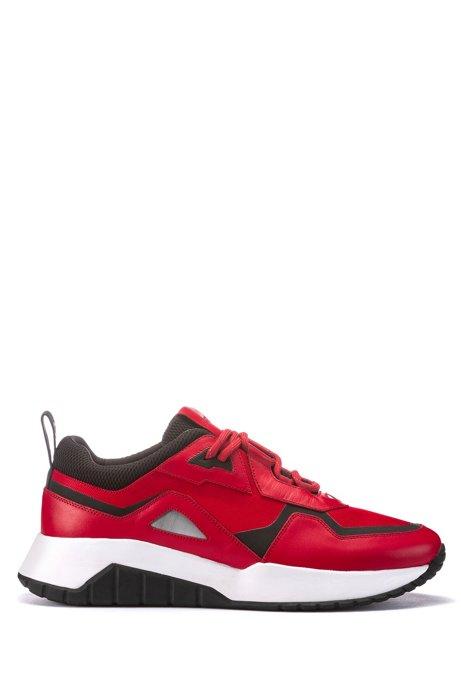 Vetersneakers met hybride bovenzijde en grove zool, Rood
