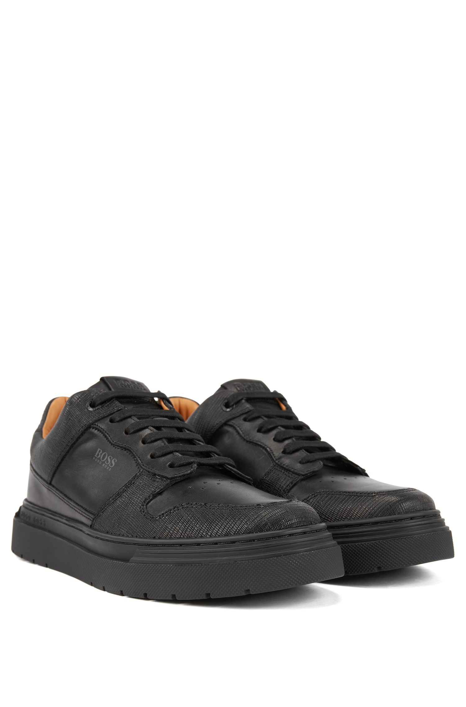 Lace-up trainers in embossed leather, Black