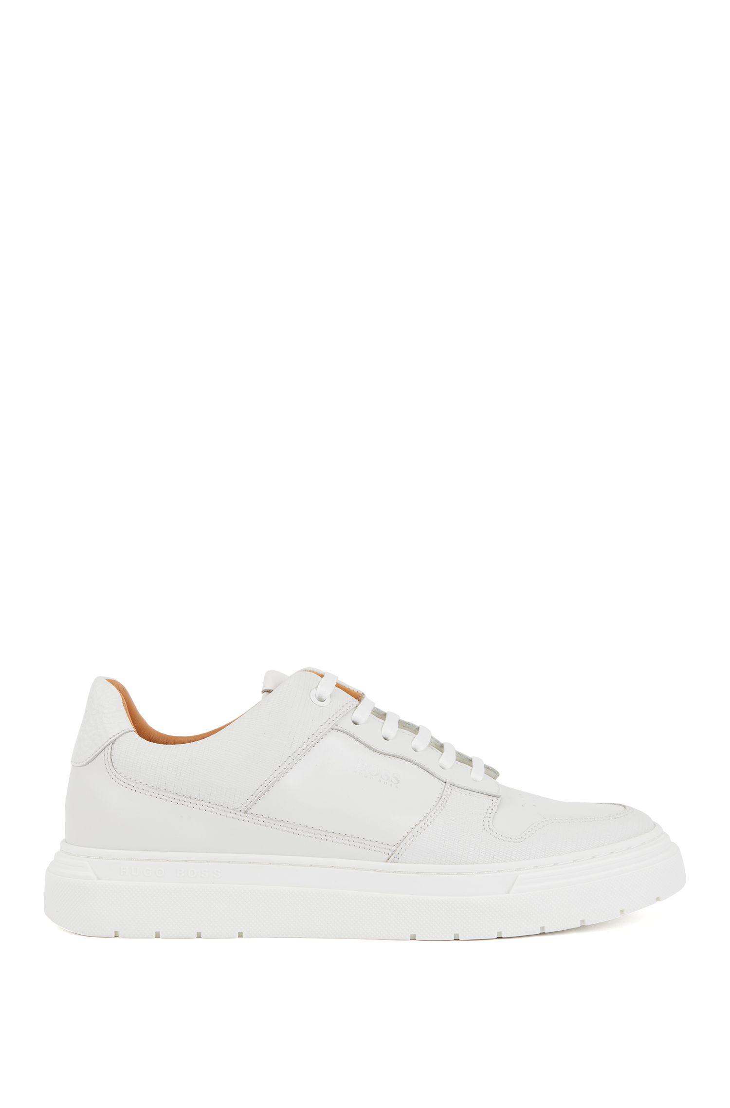 Sneakers aus geprägtem Leder, Weiß