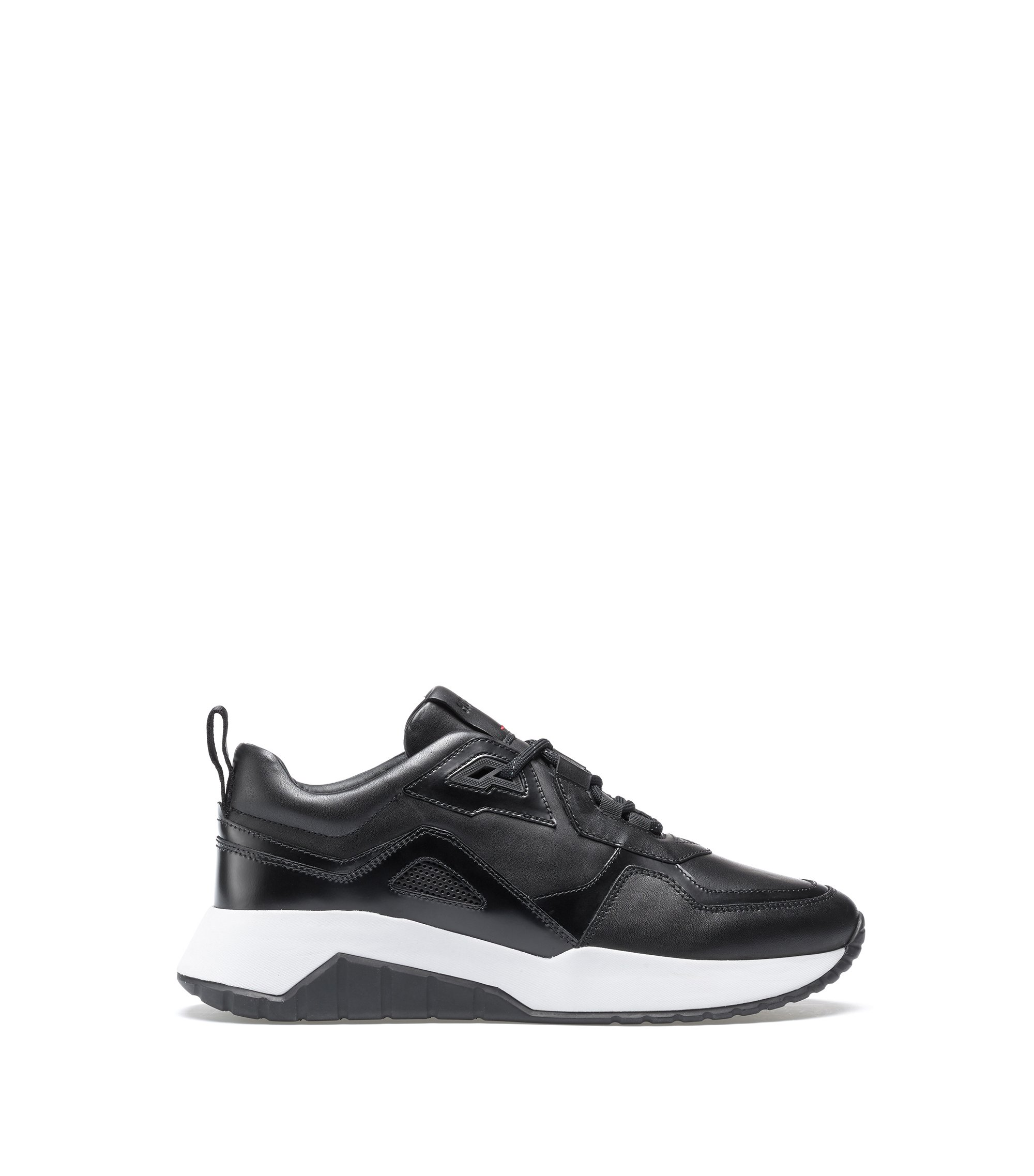 Lace-up trainers in leather with perforated details, Black