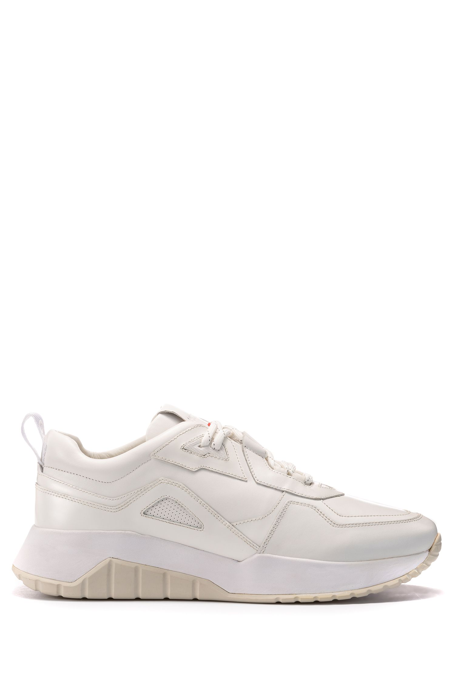 Lace-up trainers in leather with perforated details, White