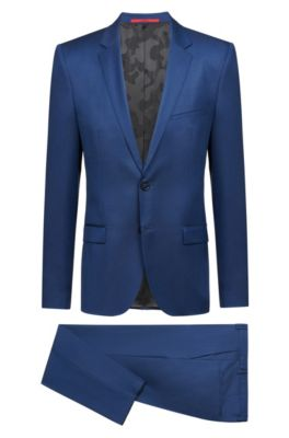 Extra Slim-Fit Anzug aus Schurwolle mit Brustpolstern, Blau