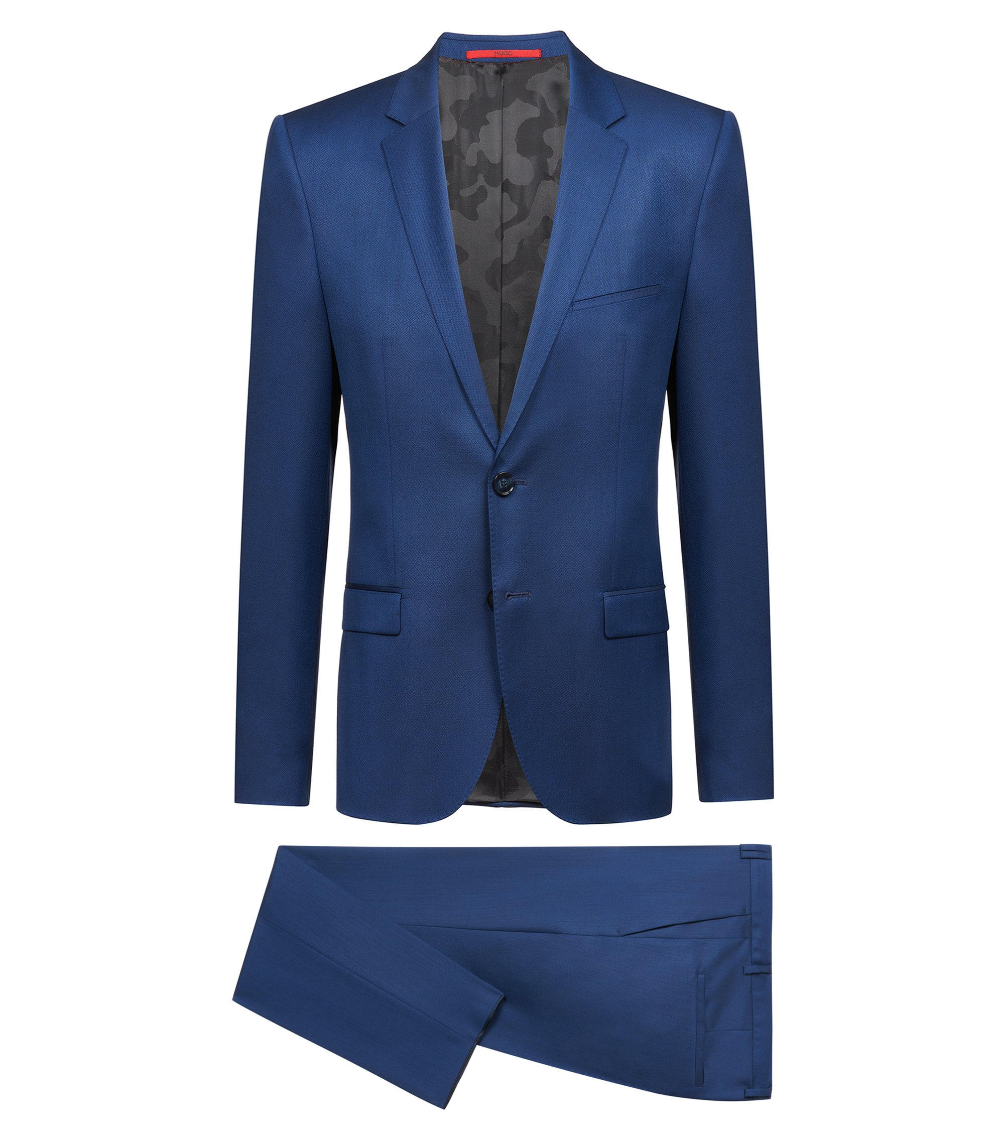 Extra-slim-fit virgin-wool suit with chest padding, Blue