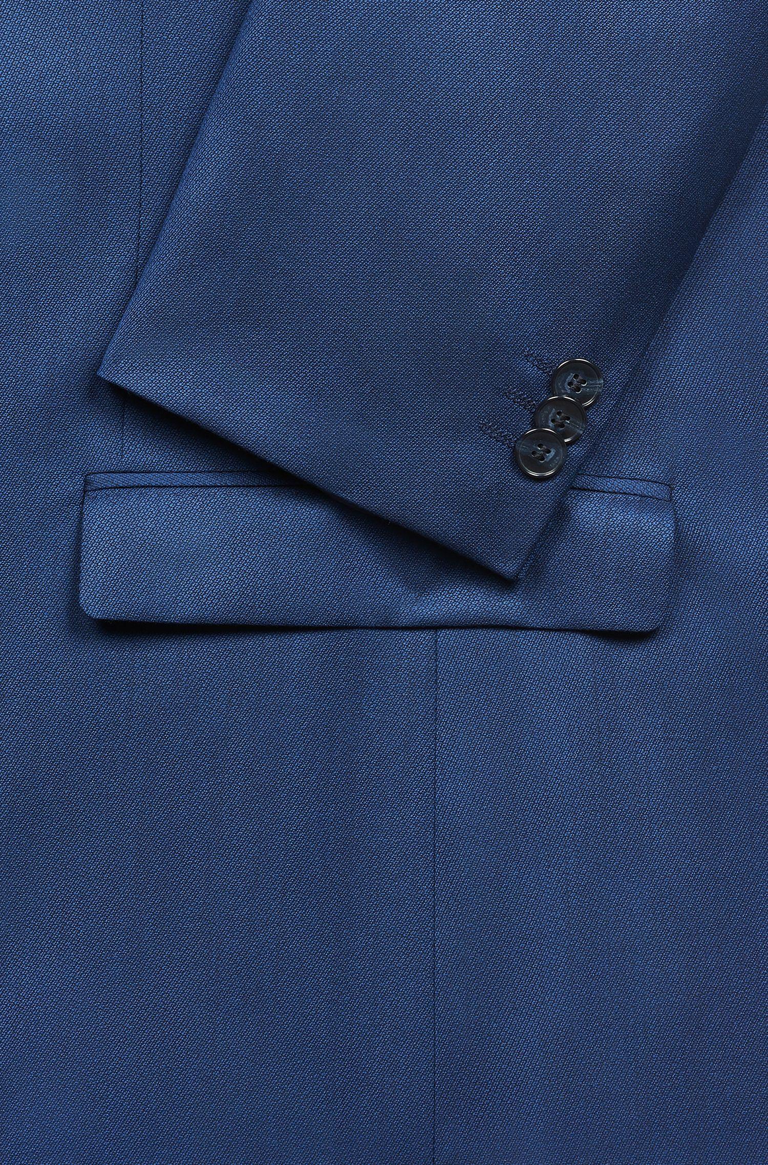 Extra slim-fit kostuum van scheerwol met vulling op borsthoogte, Blauw