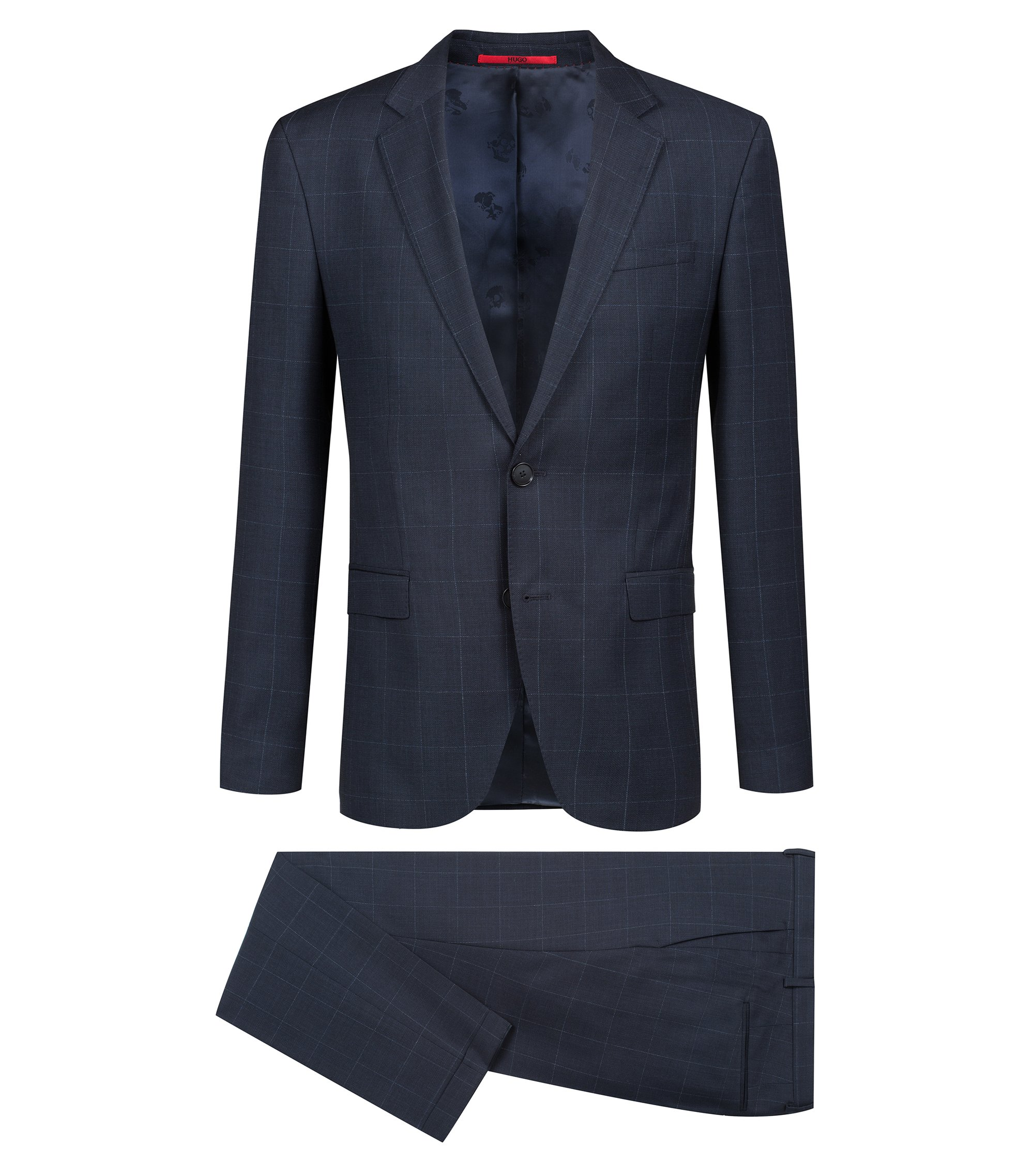 Abito extra slim fit in lana vergine con motivo a quadri, Blu scuro