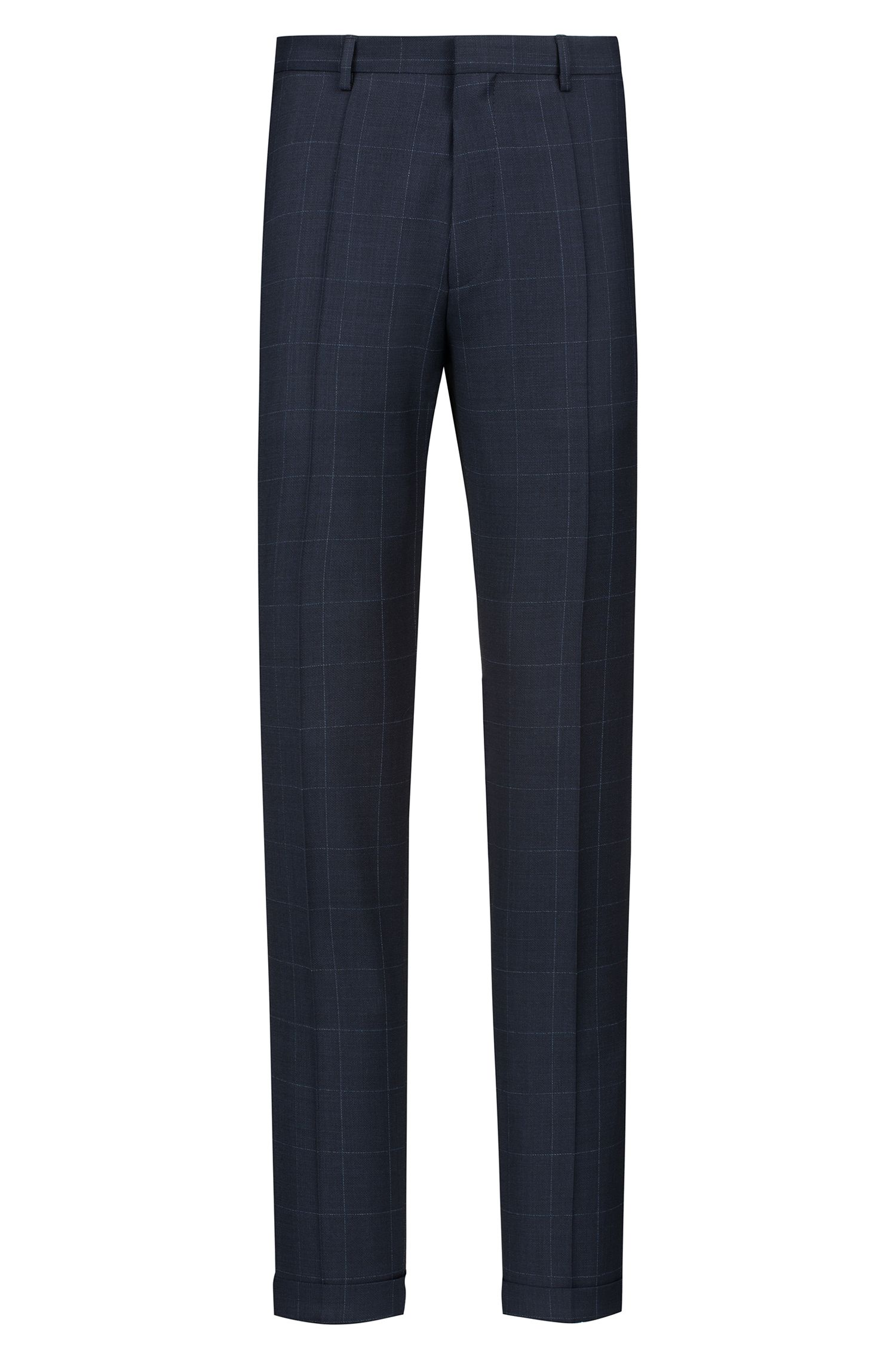 Extra-slim-fit virgin-wool suit with checked pattern