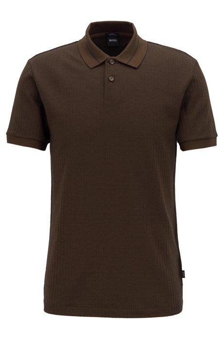 431b95c4d BOSS - Slim-fit polo shirt in micro-pattern striped jacquard